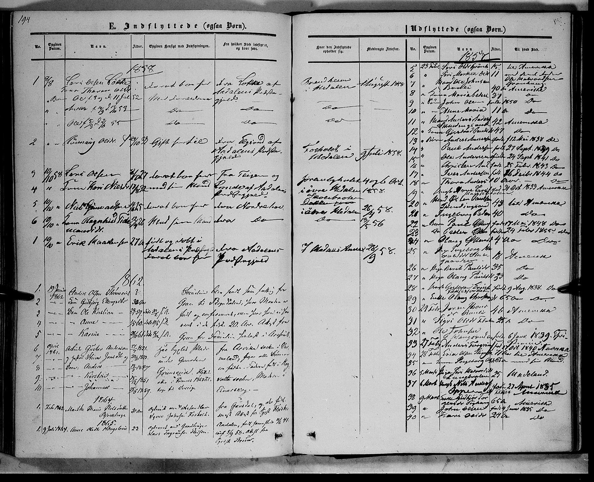 SAH, Sør-Aurdal prestekontor, Ministerialbok nr. 7, 1849-1876, s. 194