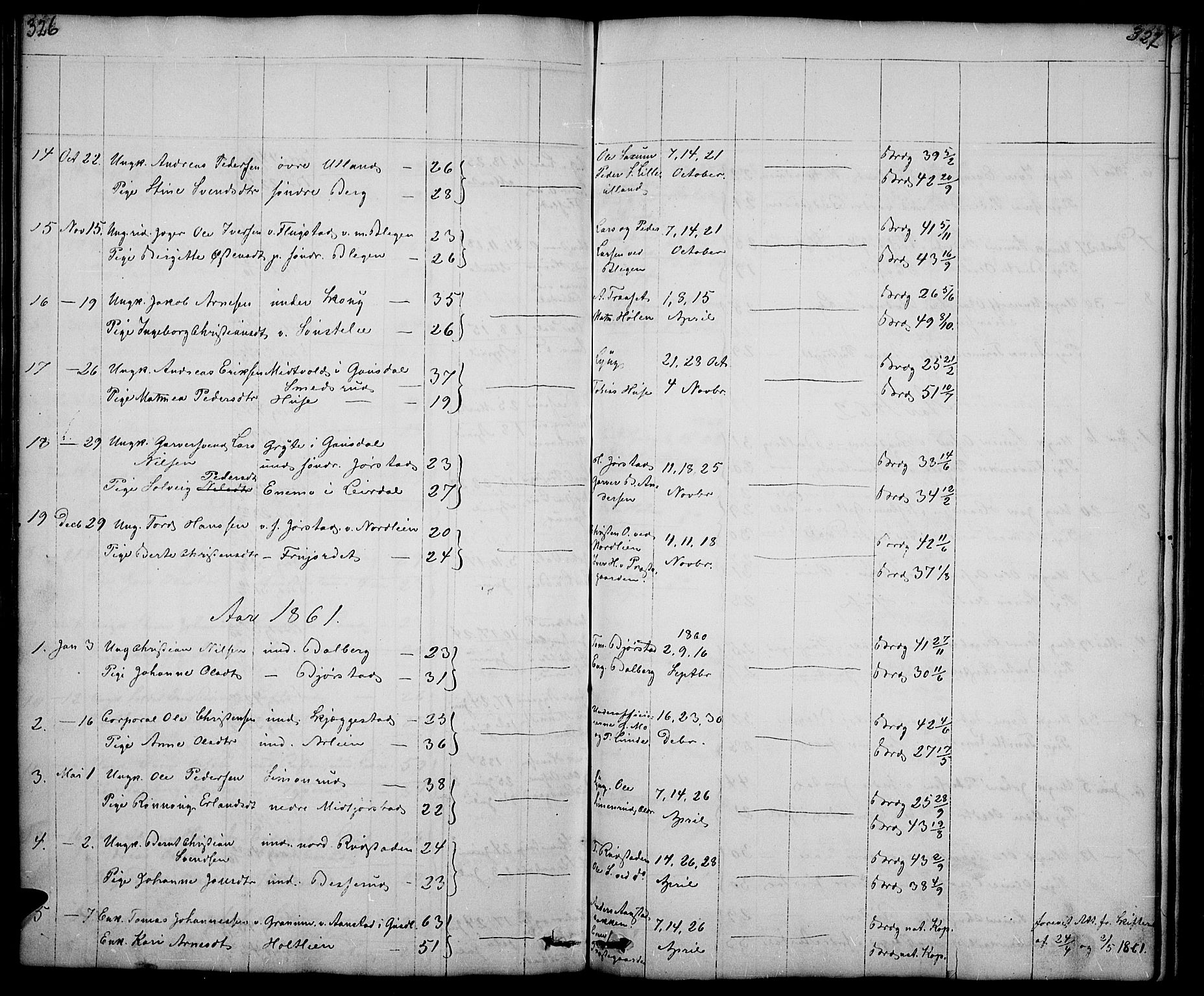 SAH, Fåberg prestekontor, Klokkerbok nr. 5, 1837-1864, s. 326-327