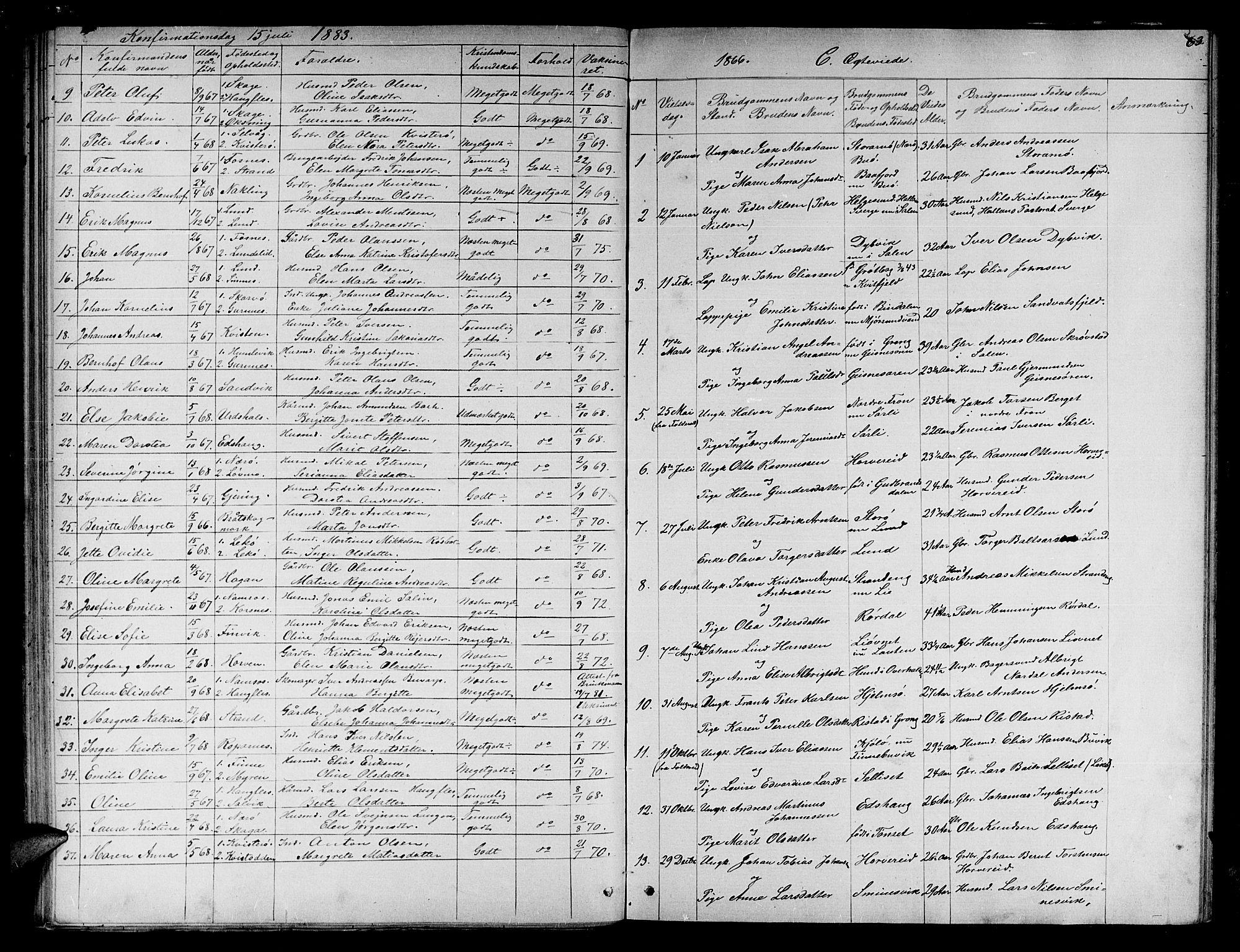 SAT, Ministerialprotokoller, klokkerbøker og fødselsregistre - Nord-Trøndelag, 780/L0650: Klokkerbok nr. 780C02, 1866-1884, s. 63