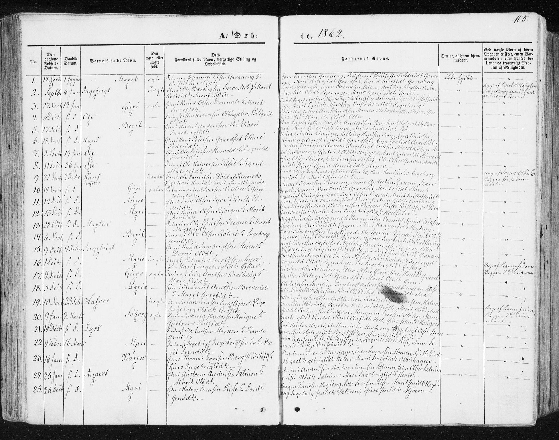 SAT, Ministerialprotokoller, klokkerbøker og fødselsregistre - Sør-Trøndelag, 678/L0899: Ministerialbok nr. 678A08, 1848-1872, s. 105