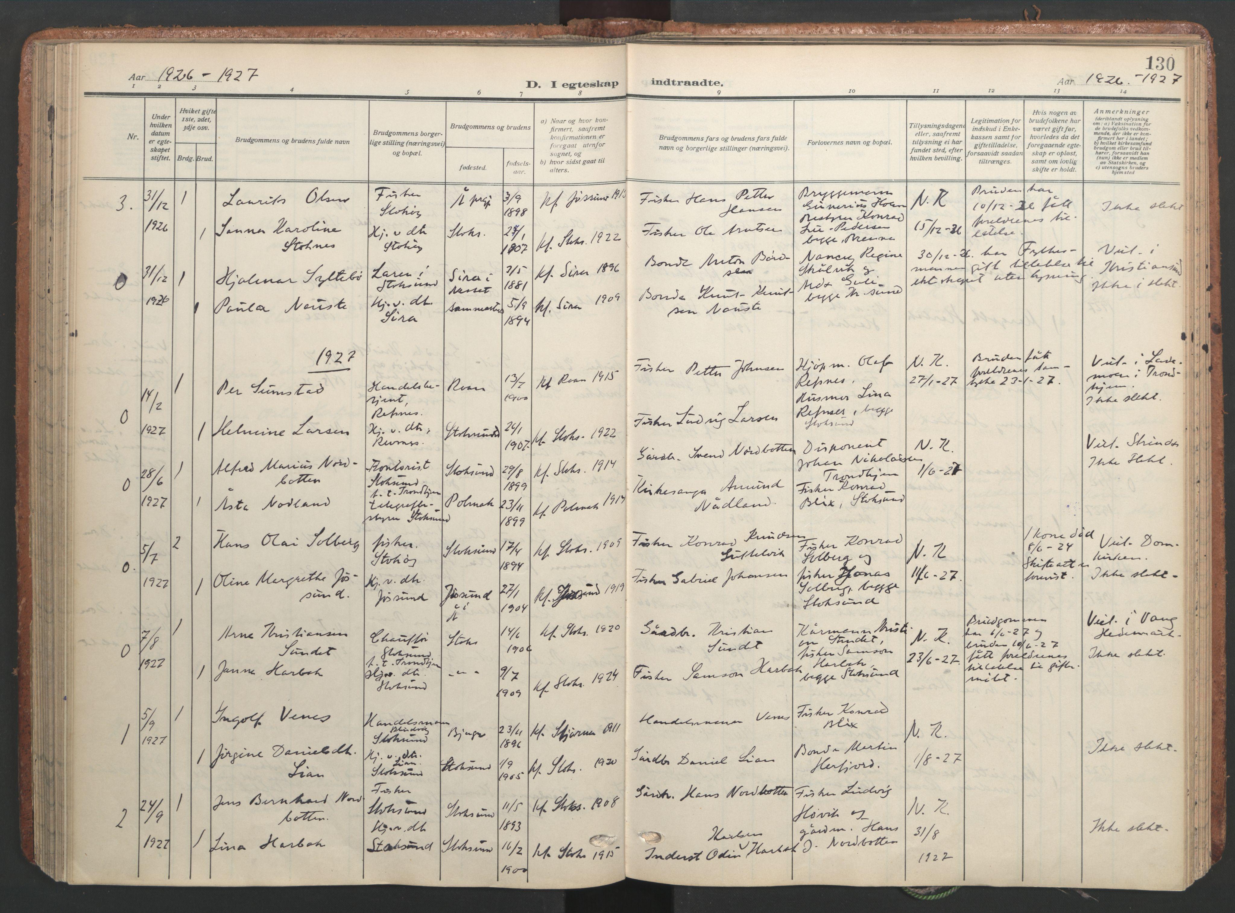 SAT, Ministerialprotokoller, klokkerbøker og fødselsregistre - Sør-Trøndelag, 656/L0694: Ministerialbok nr. 656A03, 1914-1931, s. 130