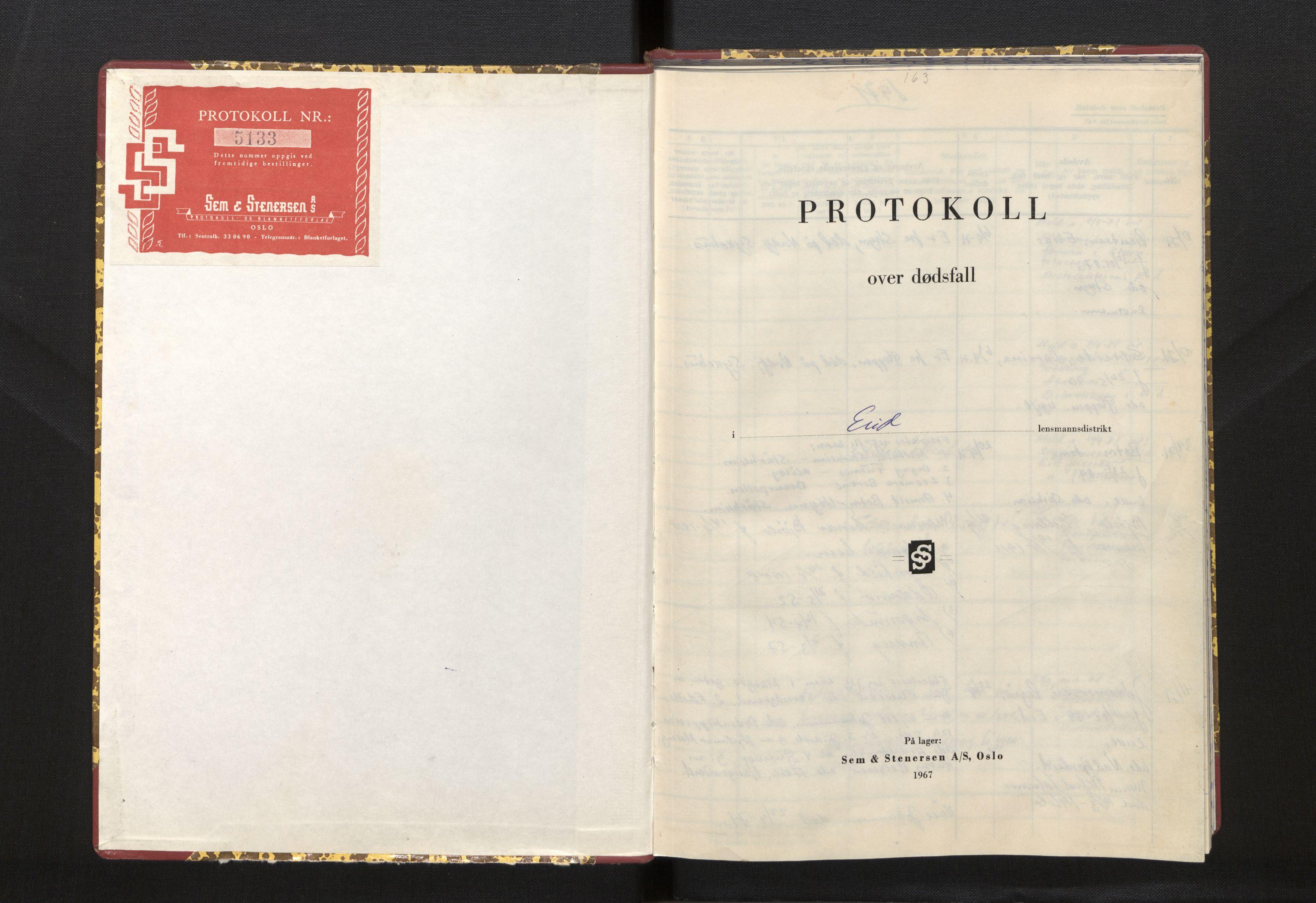SAB, Lensmannen i Eid, 0006/L0011: Dødsfallprotokoll, 1971-1973