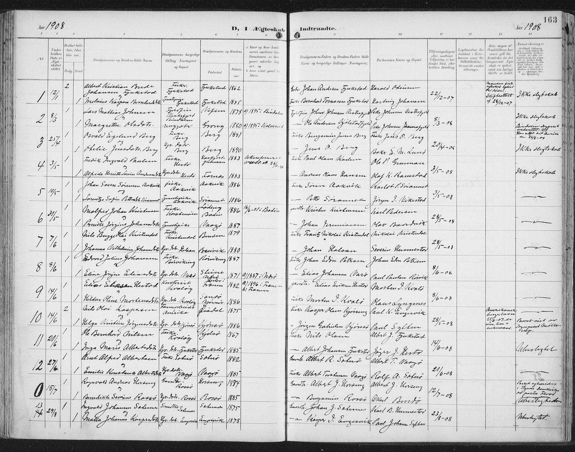 SAT, Ministerialprotokoller, klokkerbøker og fødselsregistre - Nord-Trøndelag, 786/L0688: Ministerialbok nr. 786A04, 1899-1912, s. 163