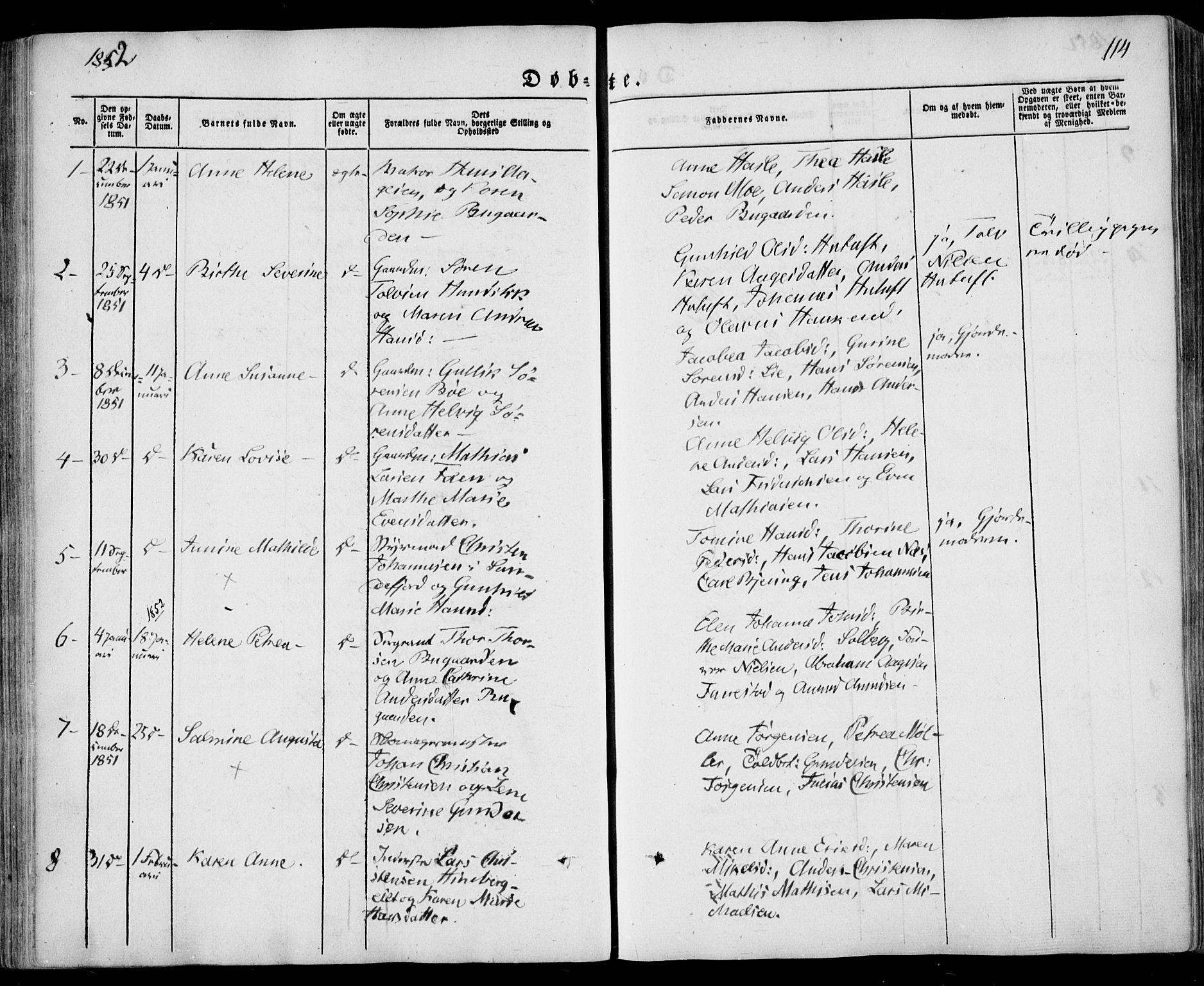 SAKO, Sandar kirkebøker, F/Fa/L0006: Ministerialbok nr. 6, 1847-1860, s. 114