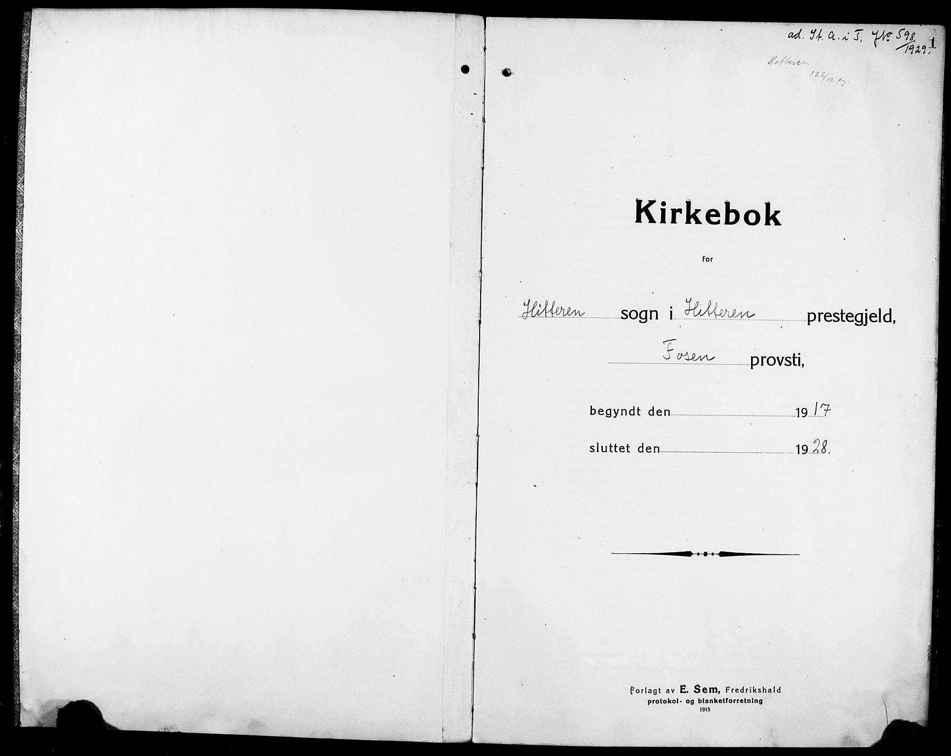 SAT, Ministerialprotokoller, klokkerbøker og fødselsregistre - Sør-Trøndelag, 634/L0543: Klokkerbok nr. 634C05, 1917-1928, s. 1