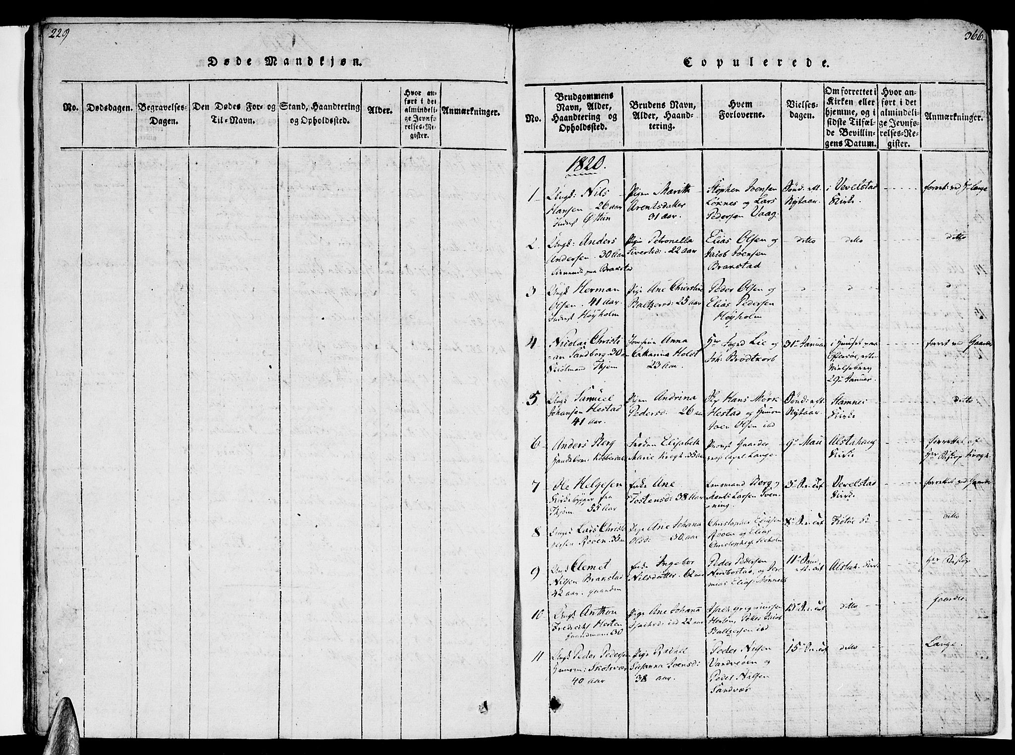 SAT, Ministerialprotokoller, klokkerbøker og fødselsregistre - Nordland, 830/L0445: Ministerialbok nr. 830A09, 1820-1830, s. 365-366