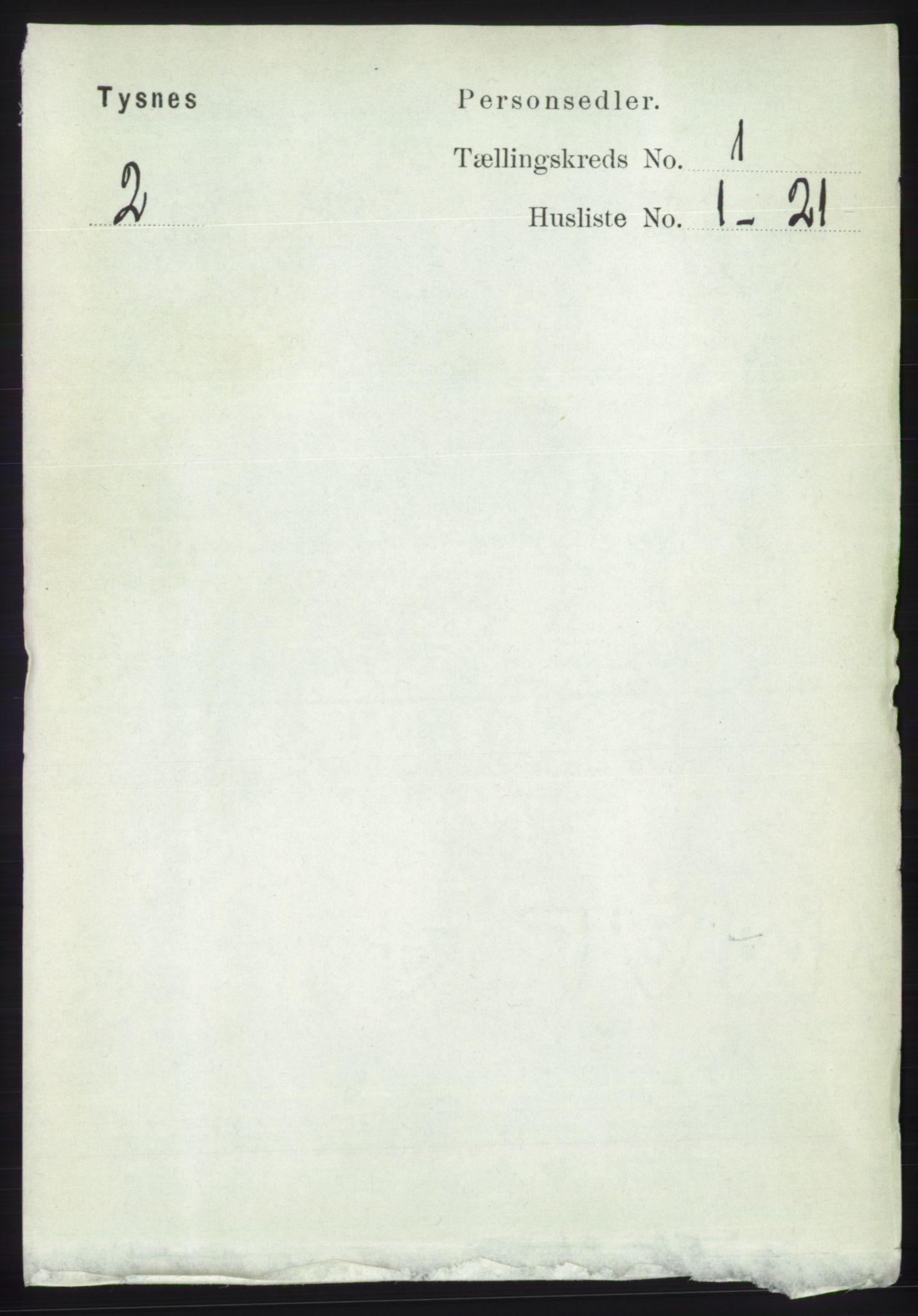 RA, Folketelling 1891 for 1223 Tysnes herred, 1891, s. 87