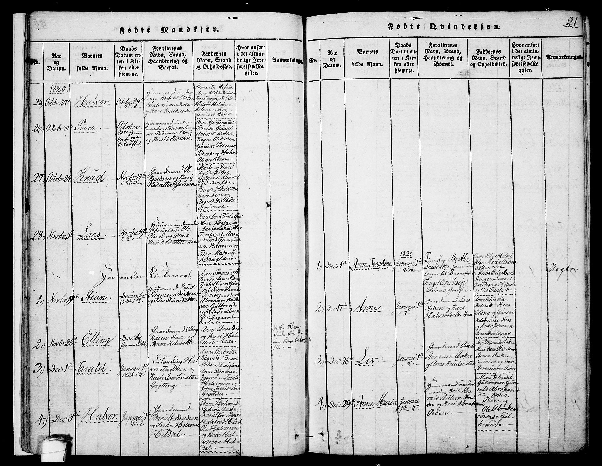 SAKO, Drangedal kirkebøker, F/Fa/L0005: Ministerialbok nr. 5 /1, 1814-1831, s. 21