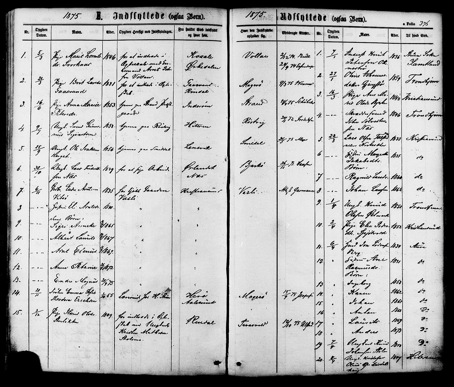 SAT, Ministerialprotokoller, klokkerbøker og fødselsregistre - Sør-Trøndelag, 630/L0495: Ministerialbok nr. 630A08, 1868-1878, s. 376
