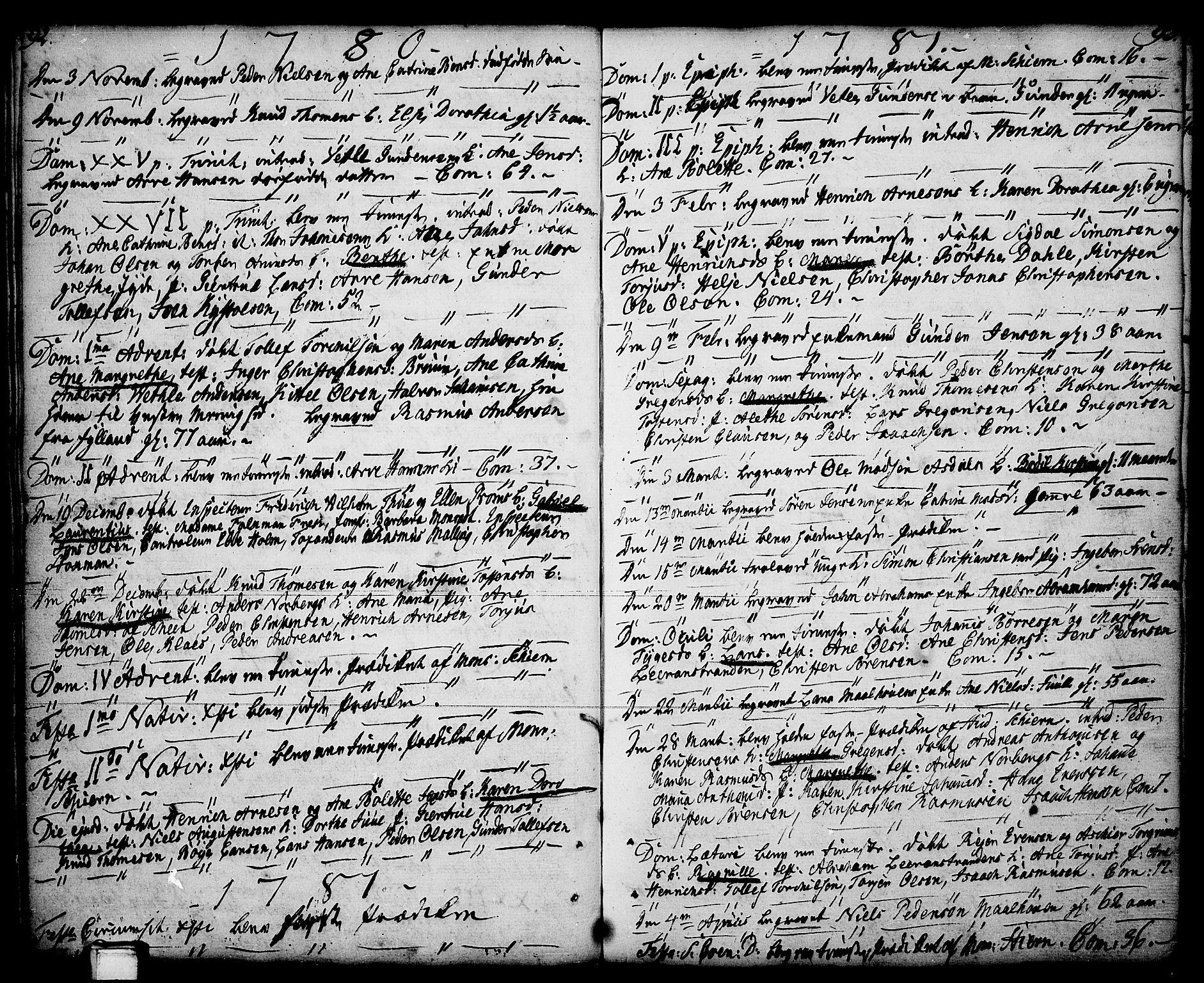 SAKO, Porsgrunn kirkebøker , F/Fa/L0001: Ministerialbok nr. 1, 1764-1814, s. 92-93