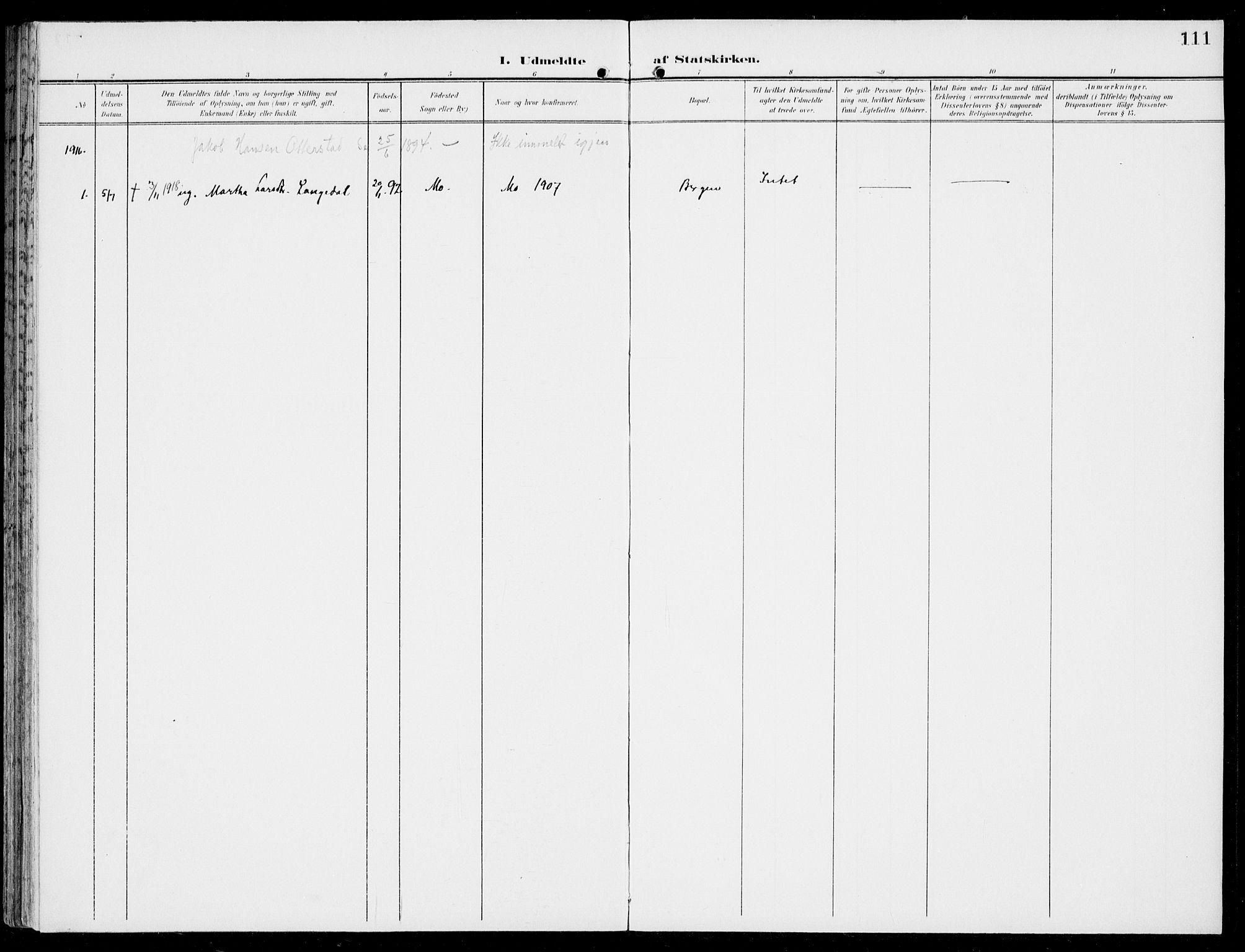 SAB, Hosanger Sokneprestembete, H/Haa: Ministerialbok nr. C  2, 1901-1925, s. 111