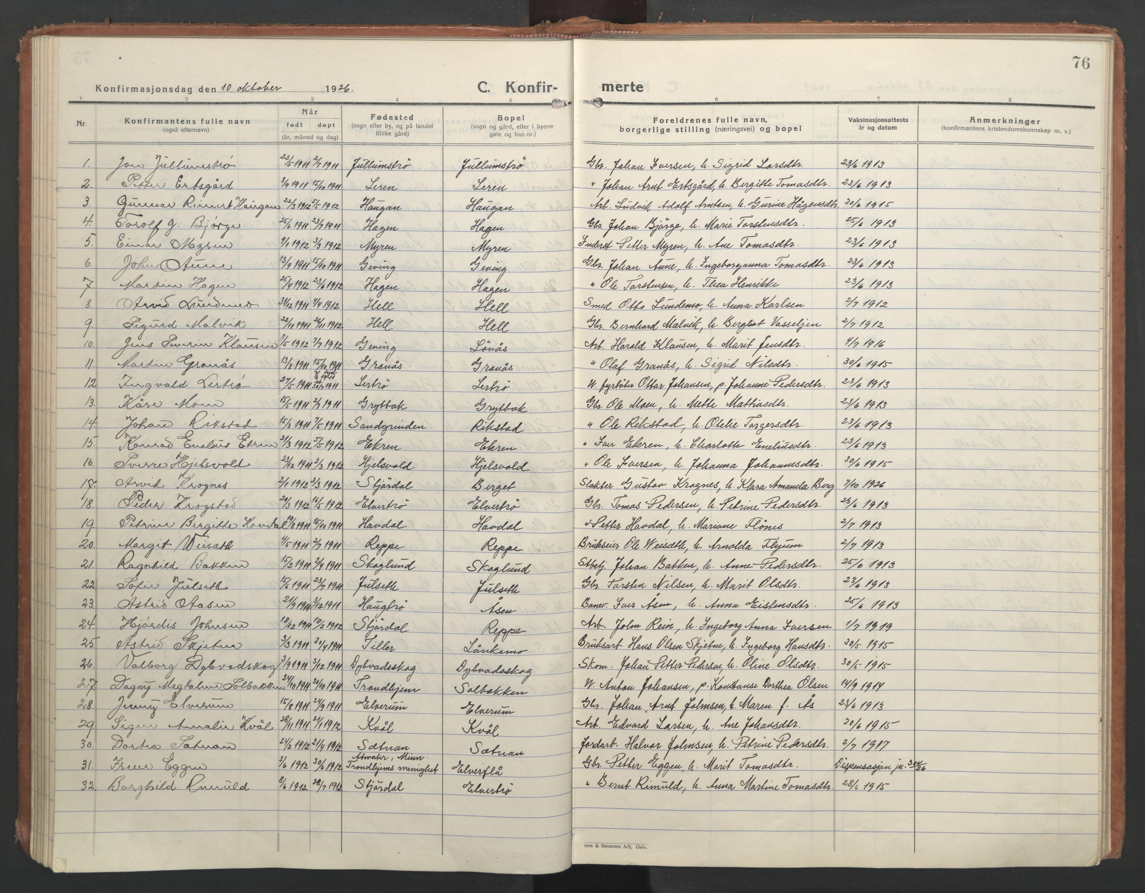SAT, Ministerialprotokoller, klokkerbøker og fødselsregistre - Nord-Trøndelag, 710/L0097: Klokkerbok nr. 710C02, 1925-1955, s. 76