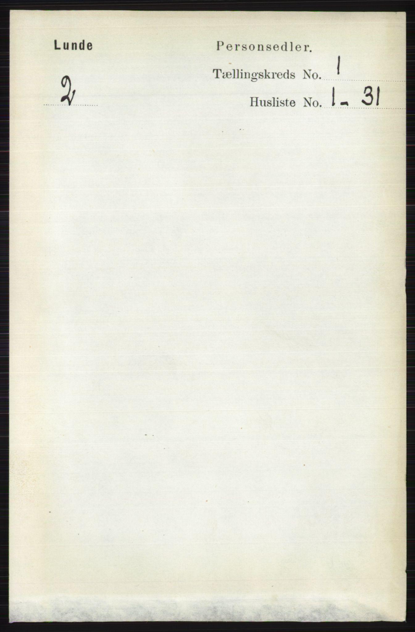 RA, Folketelling 1891 for 0820 Lunde herred, 1891, s. 74