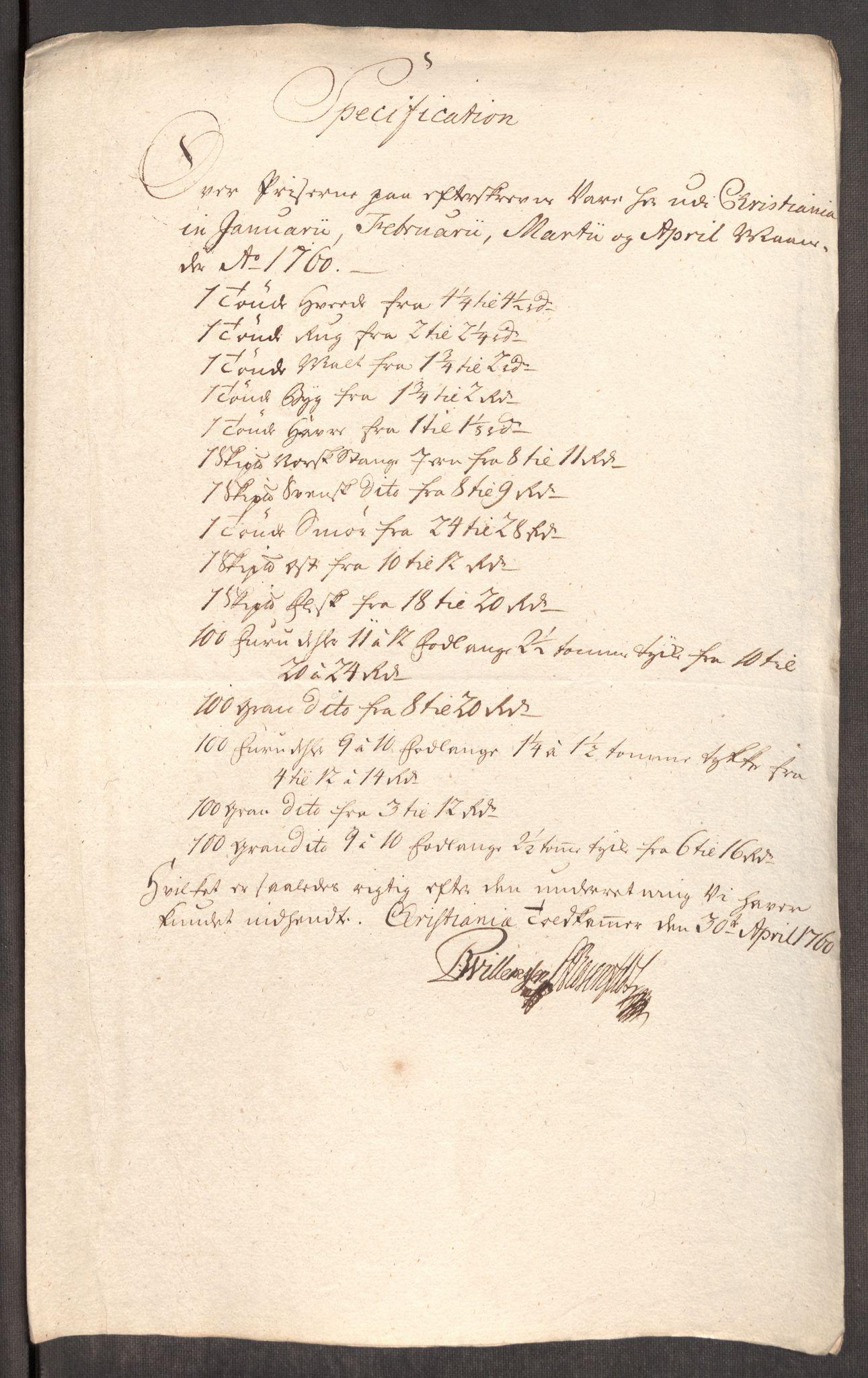 RA, Rentekammeret inntil 1814, Realistisk ordnet avdeling, Oe/L0006: [Ø1]: Priskuranter, 1758-1760, s. 740