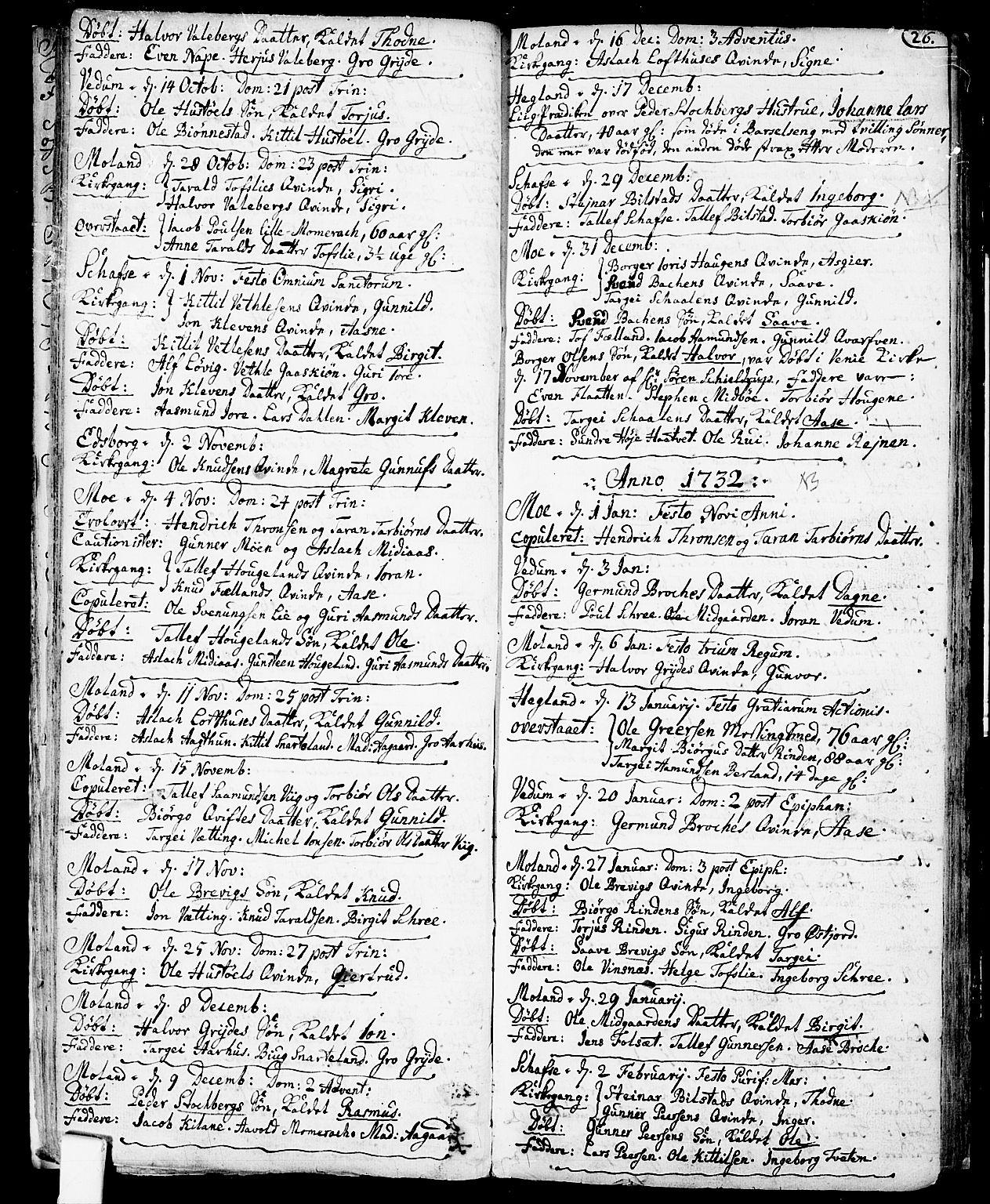 SAKO, Fyresdal kirkebøker, F/Fa/L0001: Ministerialbok nr. I 1, 1724-1748, s. 26
