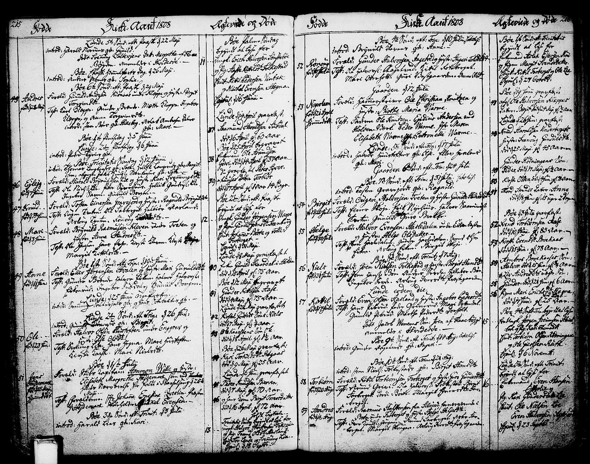 SAKO, Bø kirkebøker, F/Fa/L0005: Ministerialbok nr. 5, 1785-1815, s. 215-216