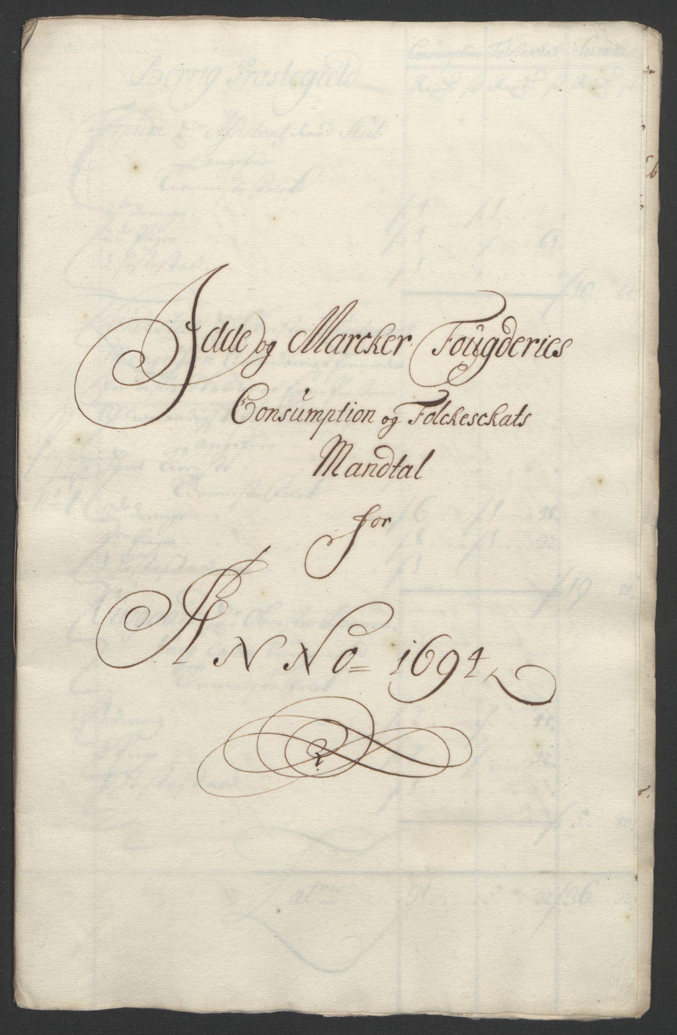 RA, Rentekammeret inntil 1814, Reviderte regnskaper, Fogderegnskap, R01/L0012: Fogderegnskap Idd og Marker, 1694-1695, s. 113