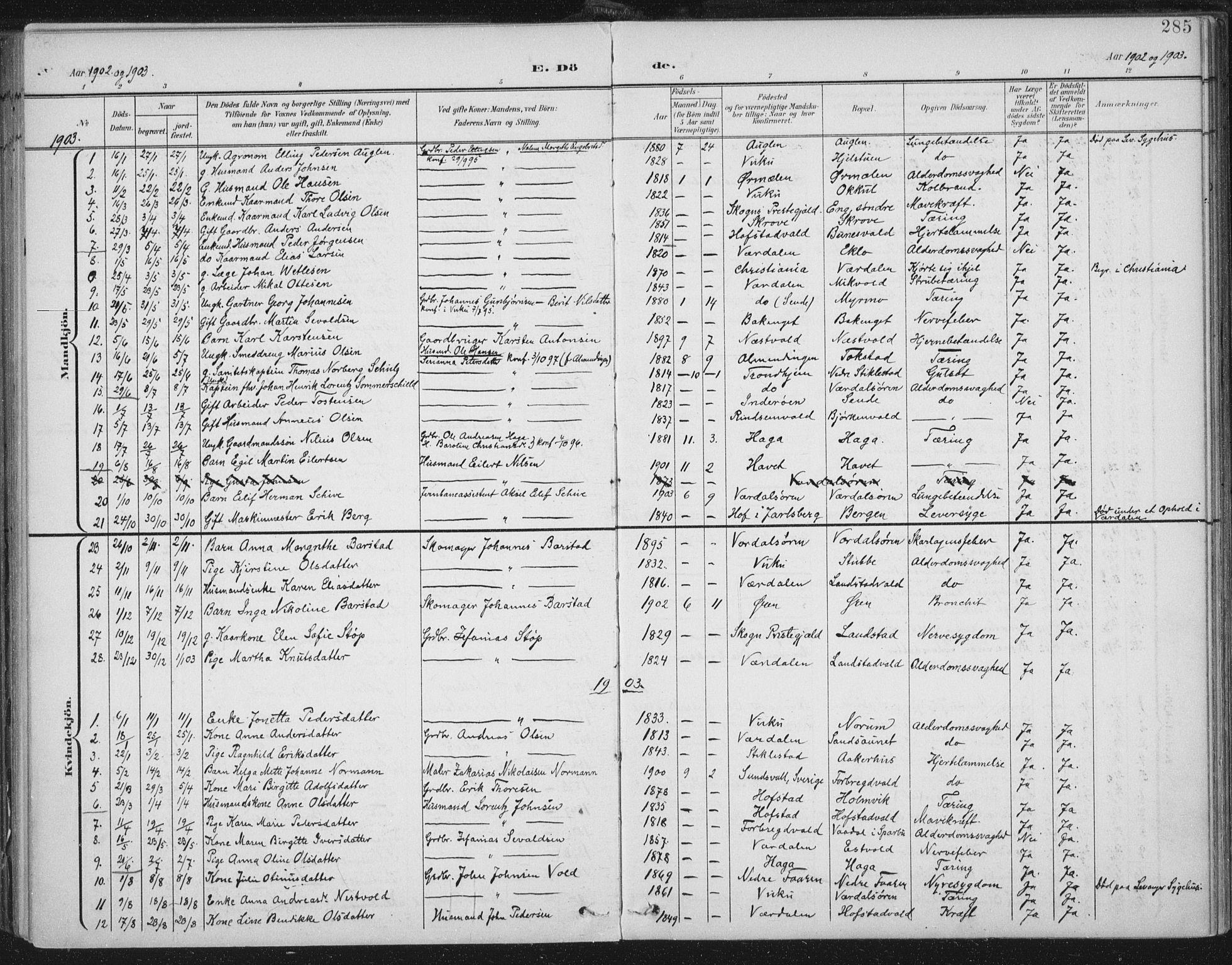 SAT, Ministerialprotokoller, klokkerbøker og fødselsregistre - Nord-Trøndelag, 723/L0246: Ministerialbok nr. 723A15, 1900-1917, s. 285