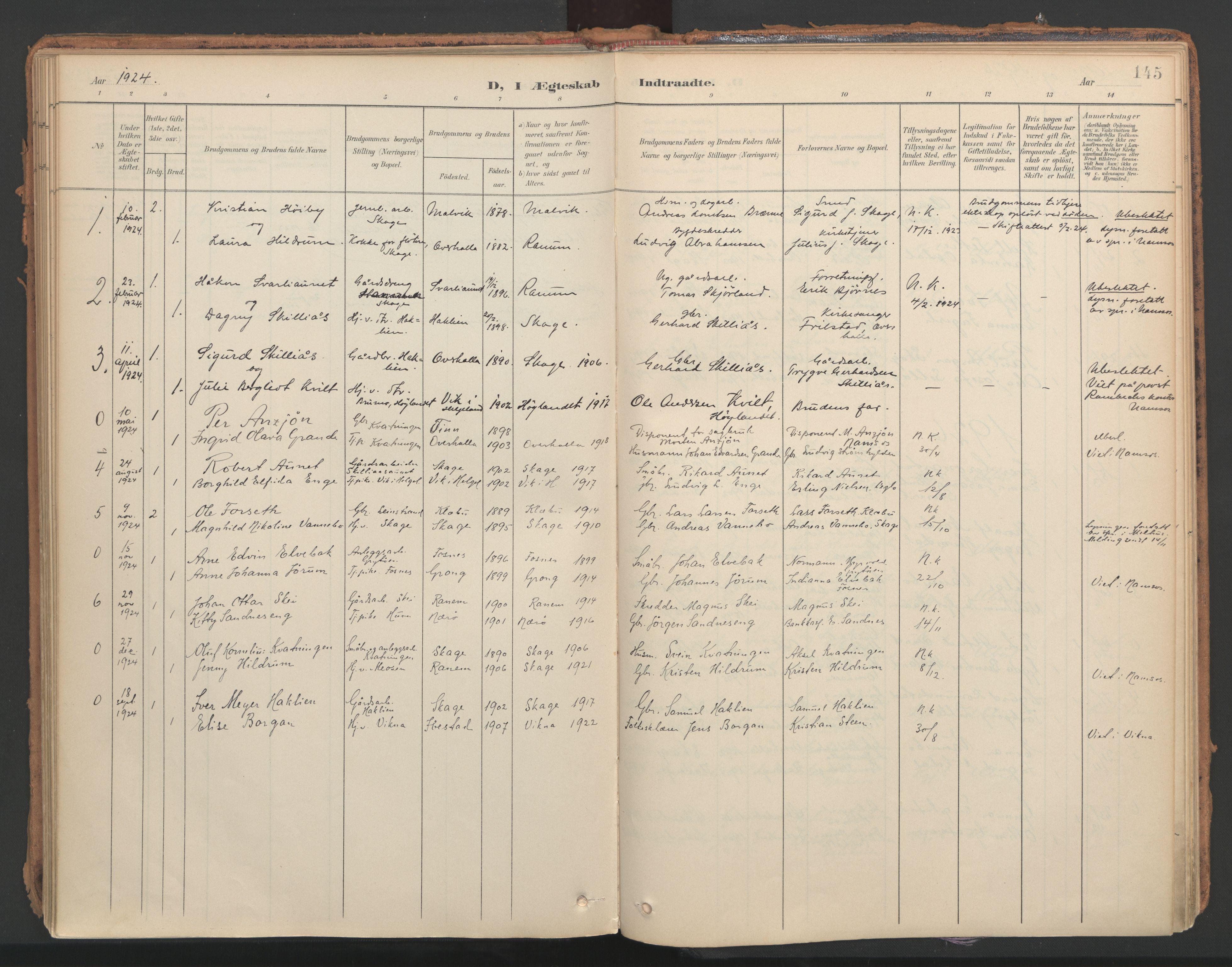 SAT, Ministerialprotokoller, klokkerbøker og fødselsregistre - Nord-Trøndelag, 766/L0564: Ministerialbok nr. 767A02, 1900-1932, s. 145
