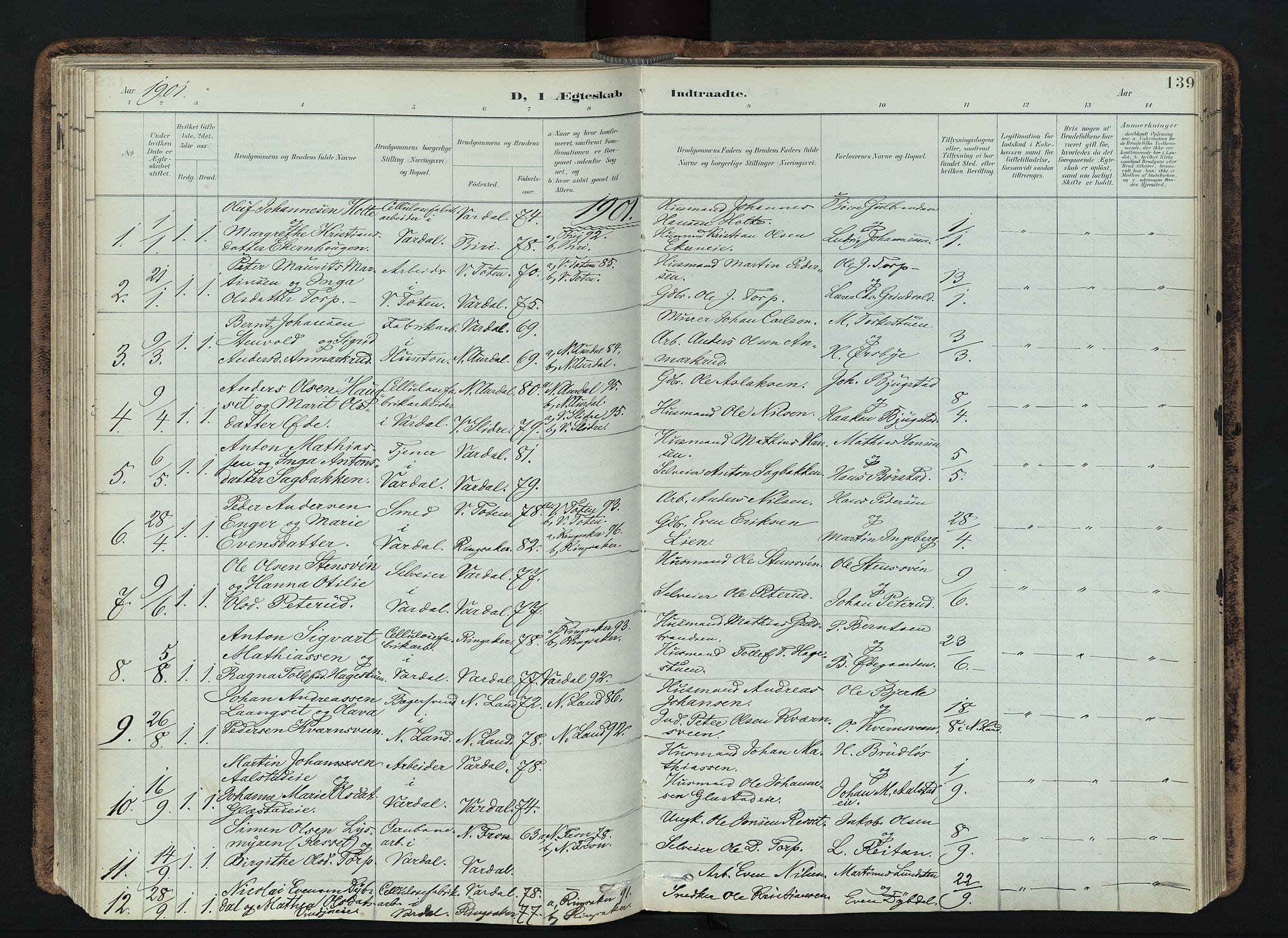 SAH, Vardal prestekontor, H/Ha/Haa/L0019: Ministerialbok nr. 19, 1893-1907, s. 139