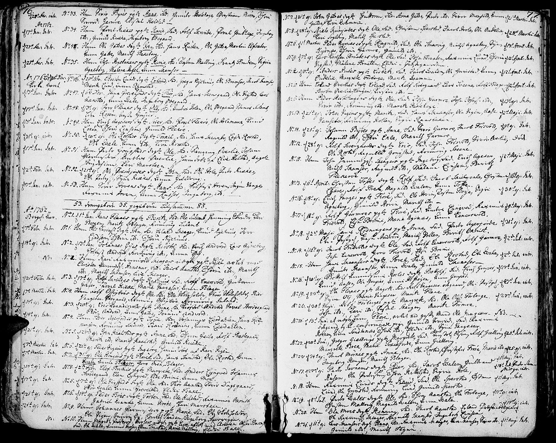SAH, Lom prestekontor, K/L0002: Ministerialbok nr. 2, 1749-1801, s. 76-77