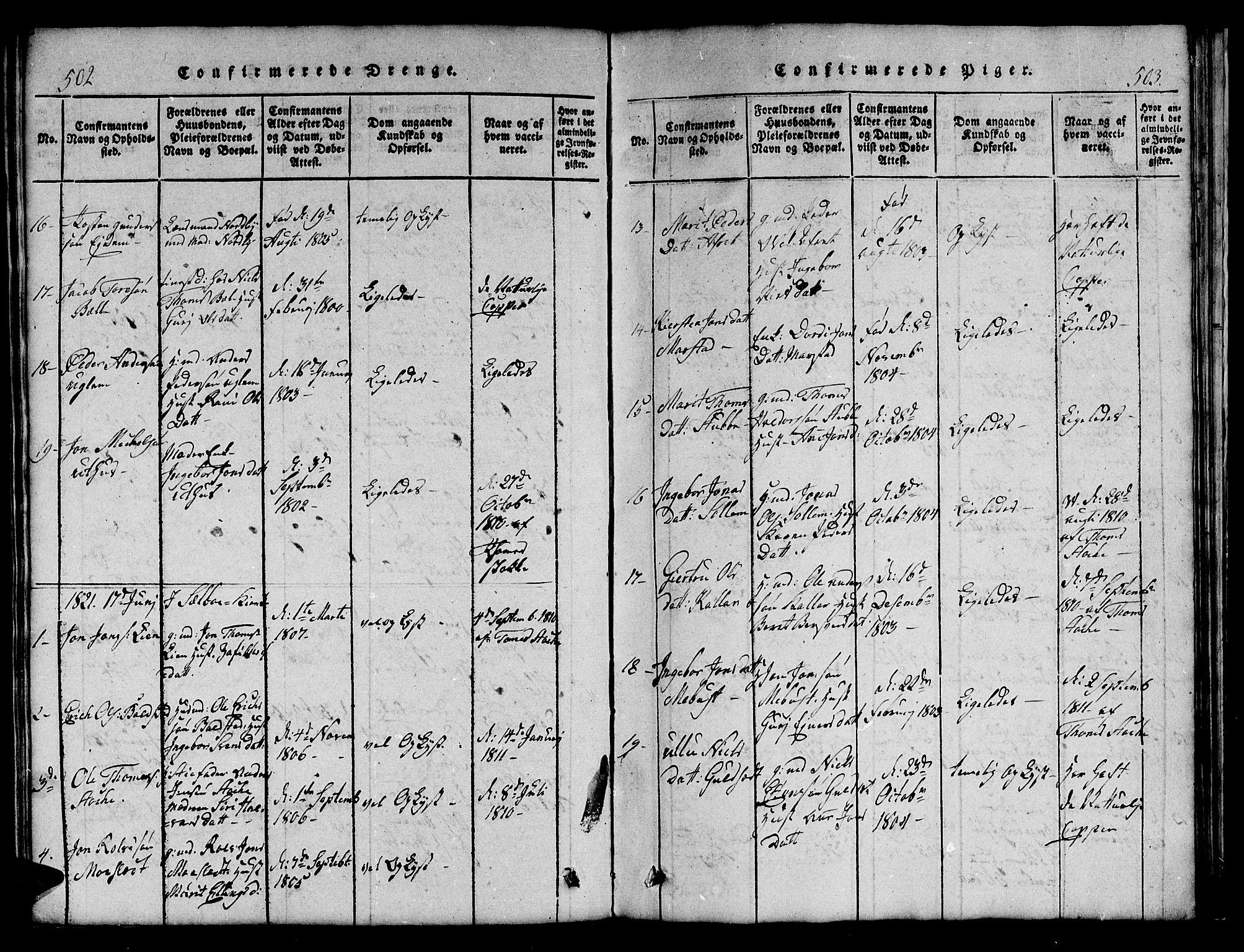 SAT, Ministerialprotokoller, klokkerbøker og fødselsregistre - Sør-Trøndelag, 695/L1152: Klokkerbok nr. 695C03, 1816-1831, s. 502-503