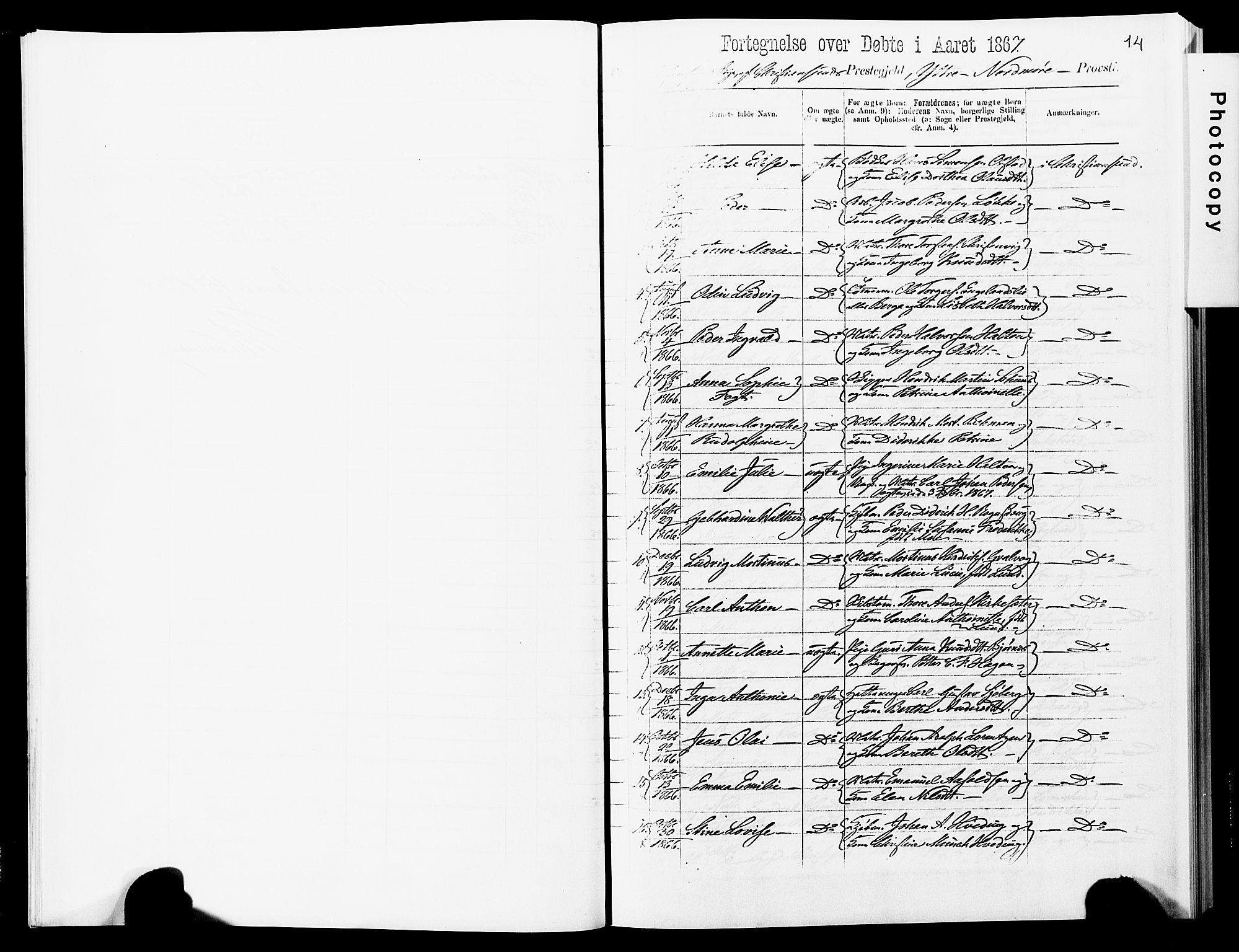 SAT, Ministerialprotokoller, klokkerbøker og fødselsregistre - Møre og Romsdal, 572/L0857: Ministerialbok nr. 572D01, 1866-1872, s. 14