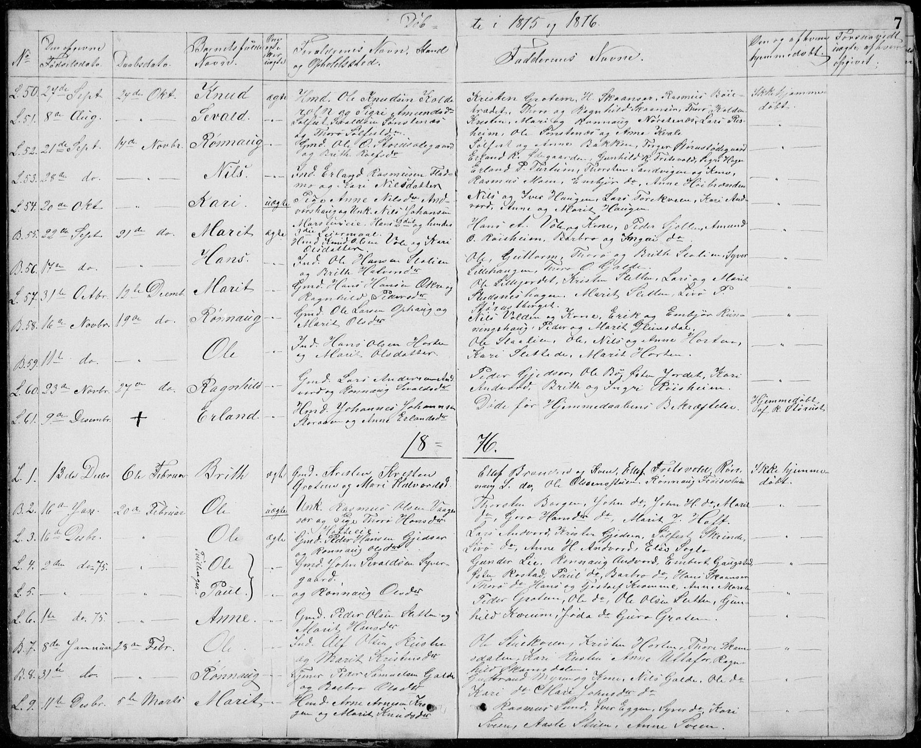 SAH, Lom prestekontor, L/L0013: Klokkerbok nr. 13, 1874-1938, s. 7