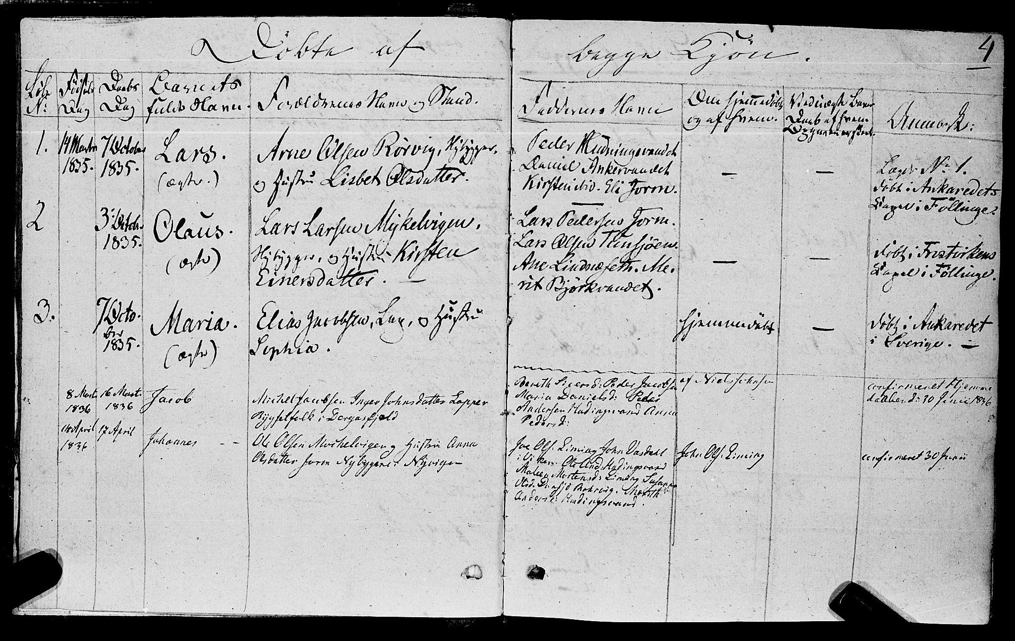 SAT, Ministerialprotokoller, klokkerbøker og fødselsregistre - Nord-Trøndelag, 762/L0538: Ministerialbok nr. 762A02 /1, 1833-1879, s. 4