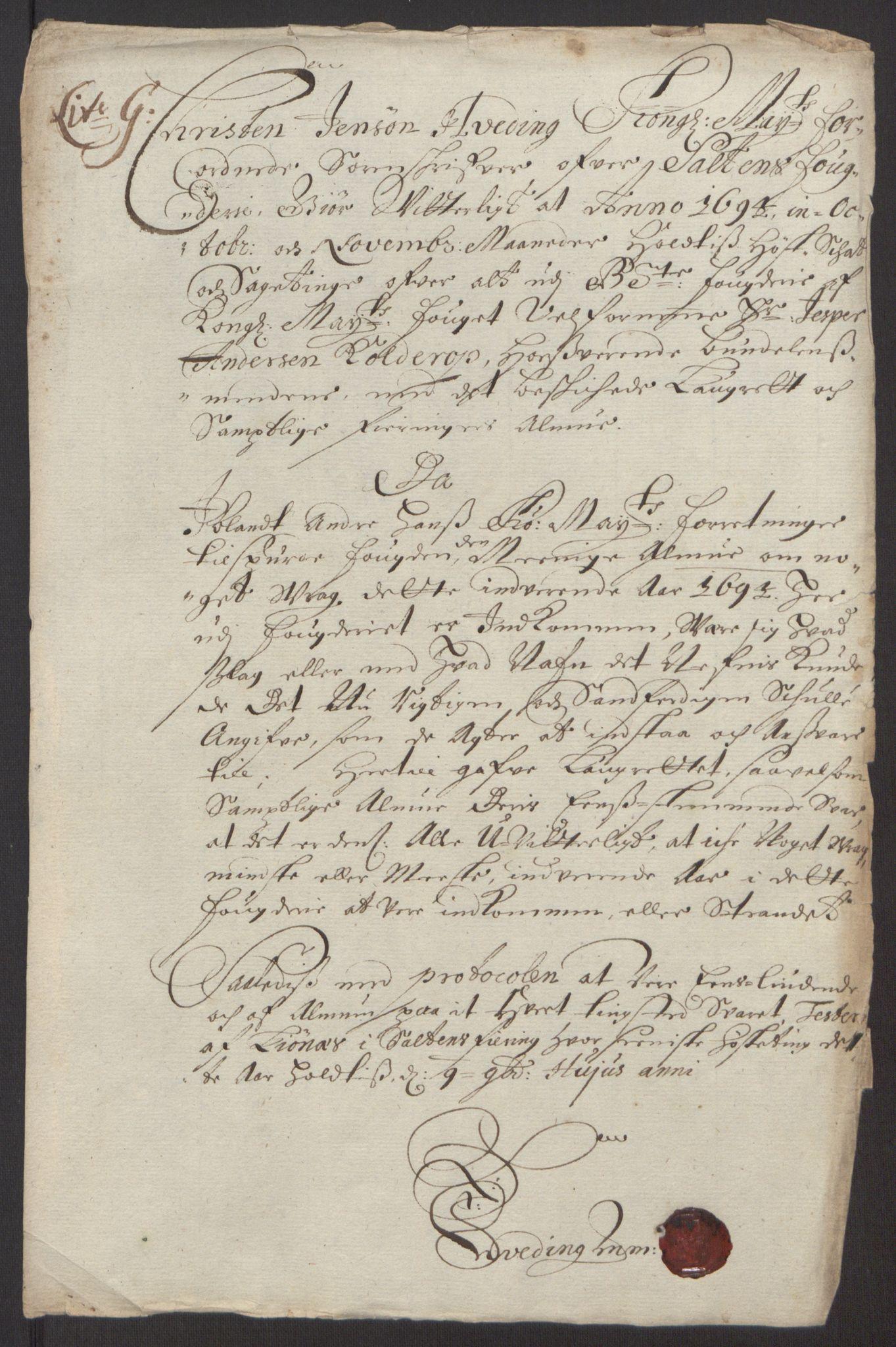 RA, Rentekammeret inntil 1814, Reviderte regnskaper, Fogderegnskap, R66/L4578: Fogderegnskap Salten, 1694-1696, s. 83