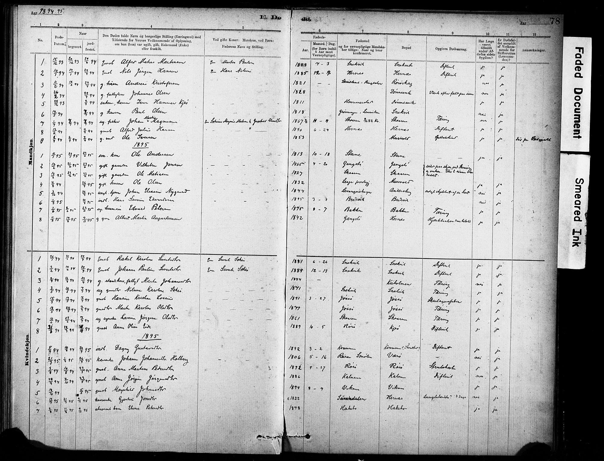 SAT, Ministerialprotokoller, klokkerbøker og fødselsregistre - Sør-Trøndelag, 635/L0551: Ministerialbok nr. 635A01, 1882-1899, s. 78