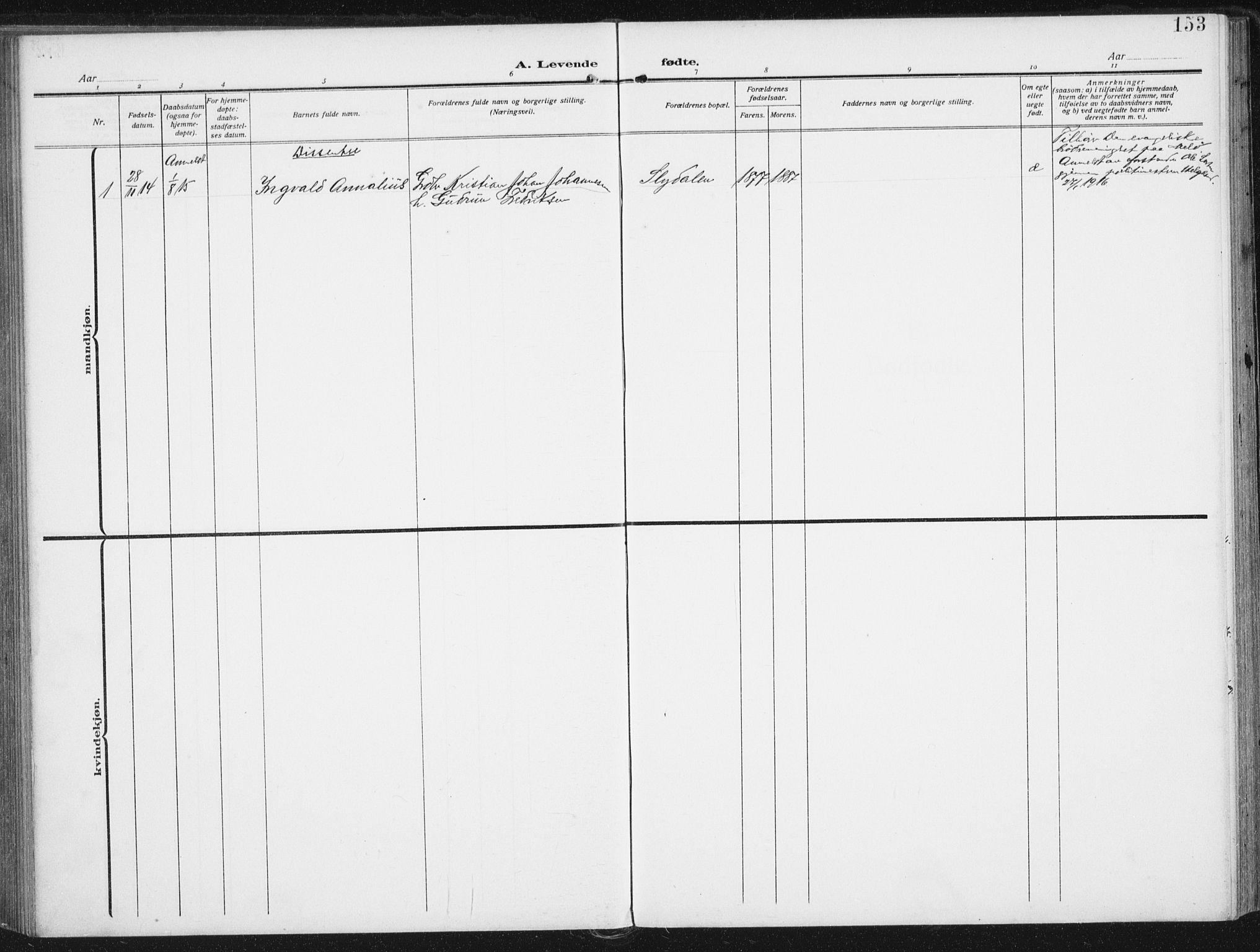 SAT, Ministerialprotokoller, klokkerbøker og fødselsregistre - Nordland, 880/L1135: Ministerialbok nr. 880A09, 1908-1919, s. 153