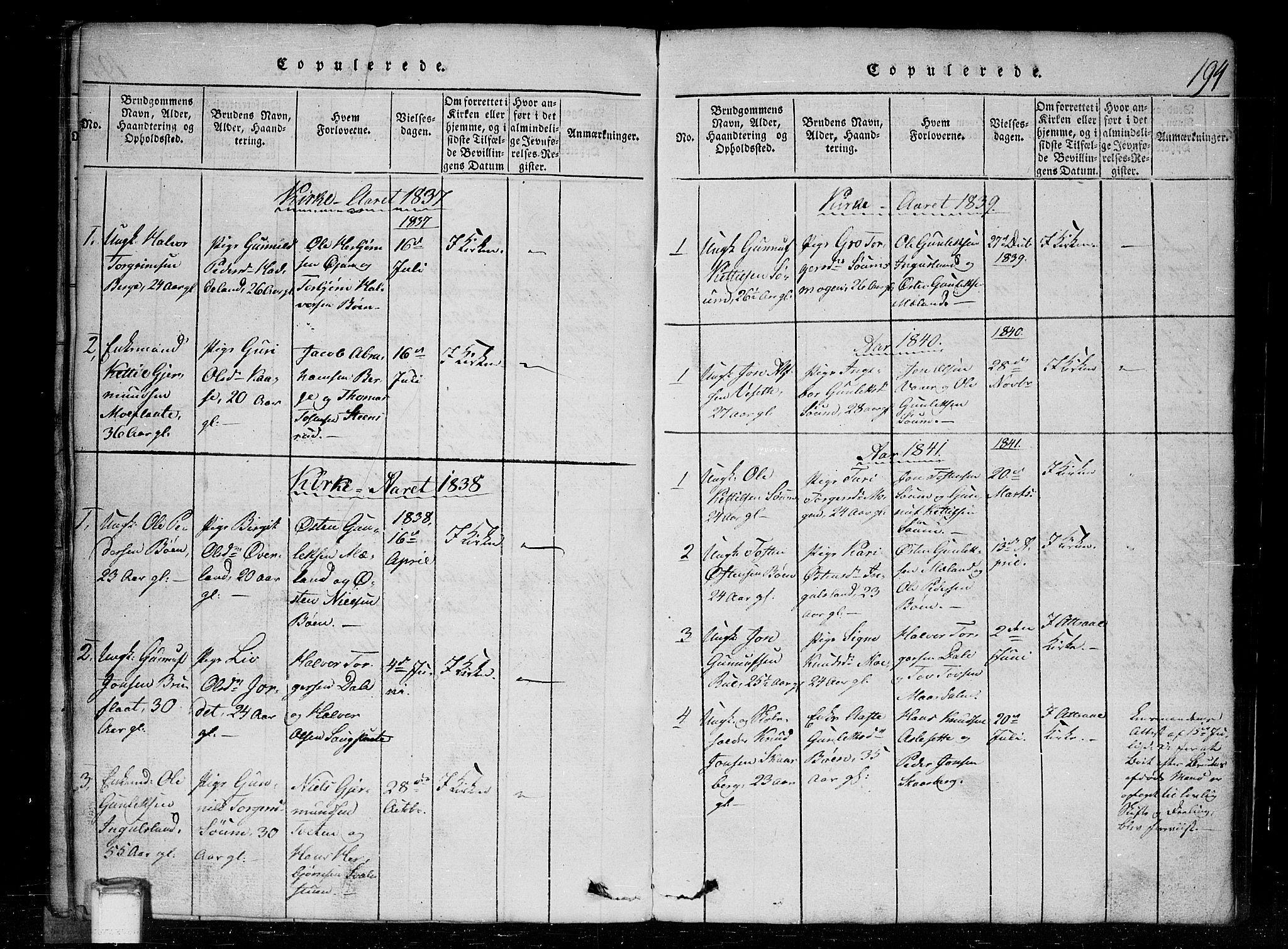 SAKO, Tinn kirkebøker, G/Gc/L0001: Klokkerbok nr. III 1, 1815-1879, s. 194