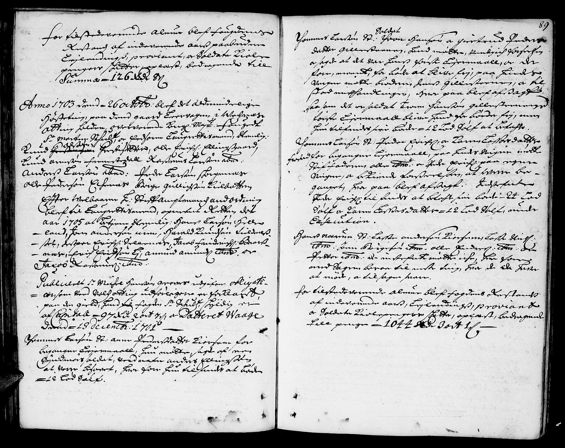 SAT, Romsdal sorenskriveri, 1/1A/L0004: Tingbok, 1700-1705, s. 88b-89a
