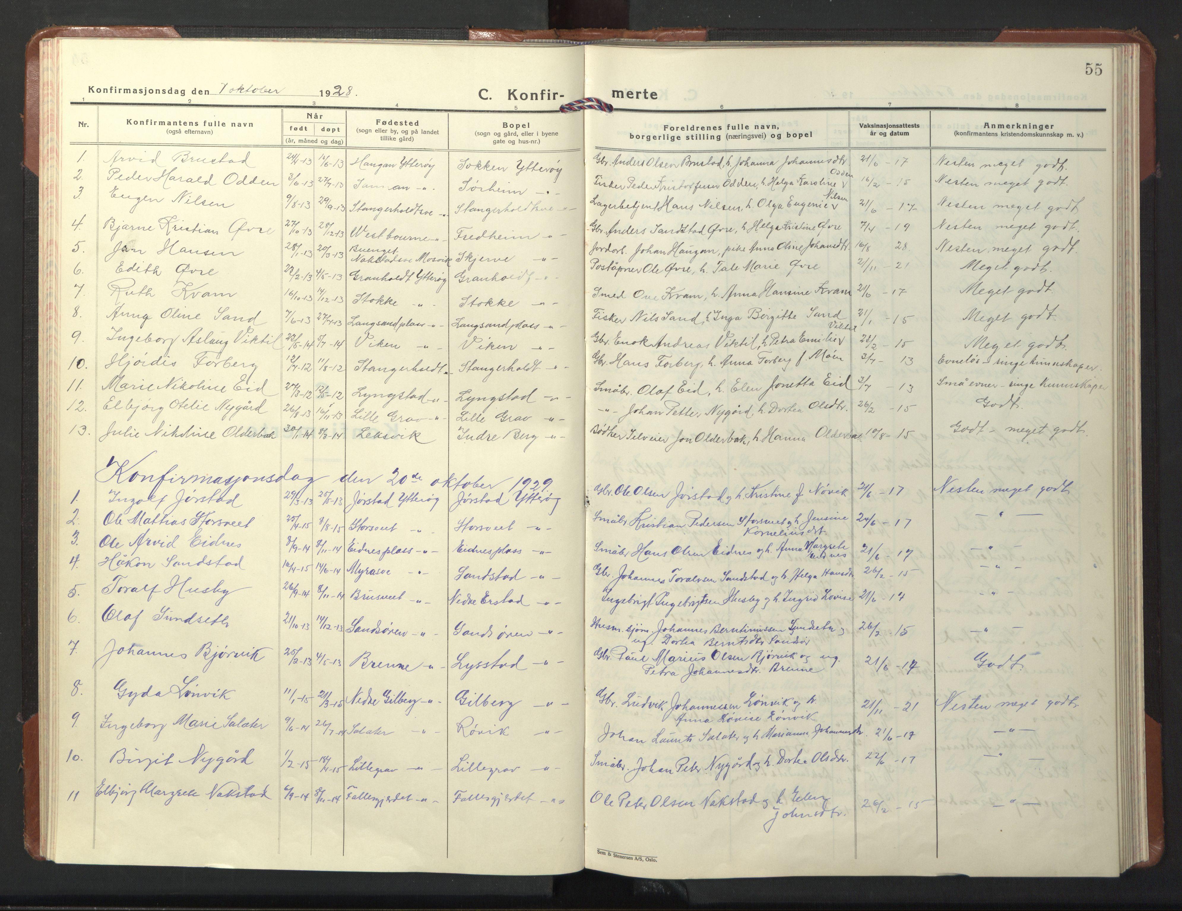 SAT, Ministerialprotokoller, klokkerbøker og fødselsregistre - Nord-Trøndelag, 722/L0227: Klokkerbok nr. 722C03, 1928-1958, s. 55