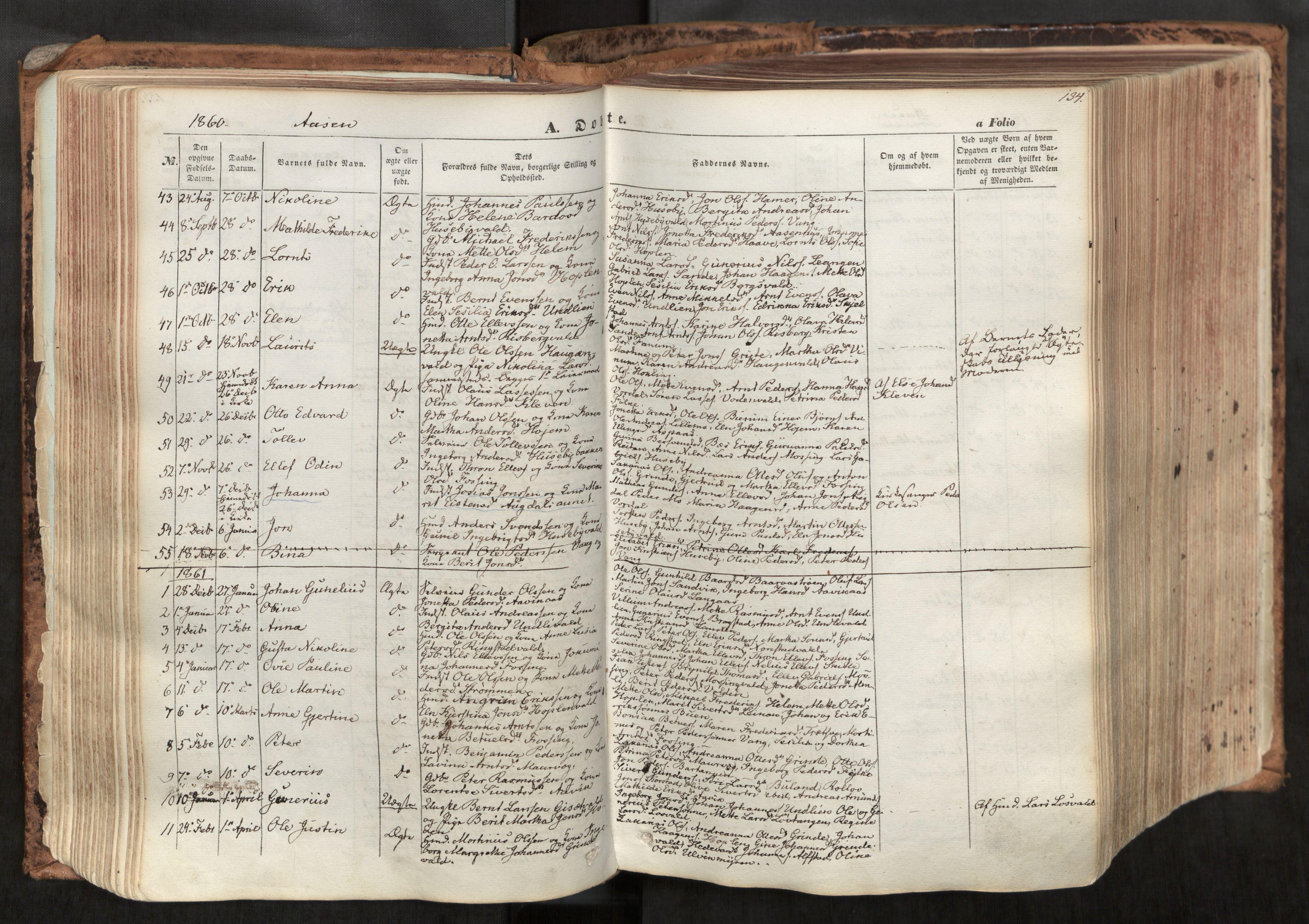 SAT, Ministerialprotokoller, klokkerbøker og fødselsregistre - Nord-Trøndelag, 713/L0116: Ministerialbok nr. 713A07, 1850-1877, s. 134