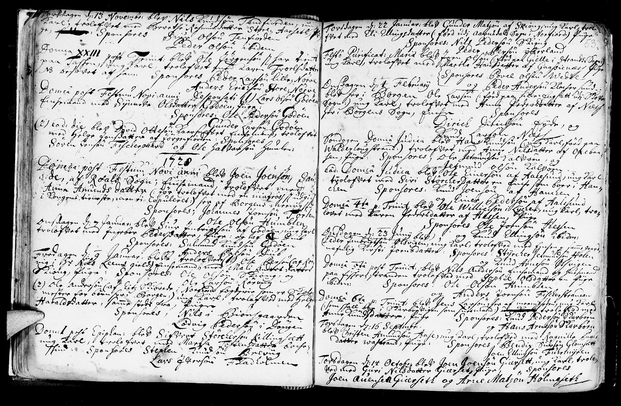 SAT, Ministerialprotokoller, klokkerbøker og fødselsregistre - Møre og Romsdal, 528/L0390: Ministerialbok nr. 528A01, 1698-1739, s. 52-53