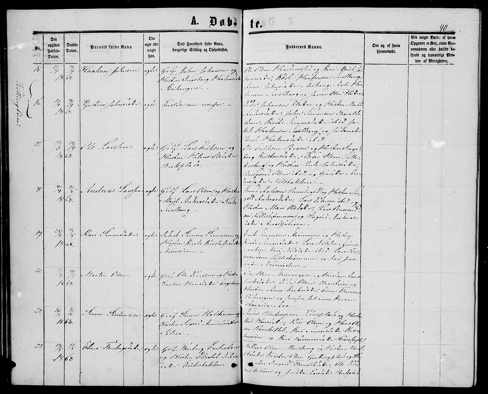 SAH, Alvdal prestekontor, Klokkerbok nr. 2, 1863-1878, s. 40