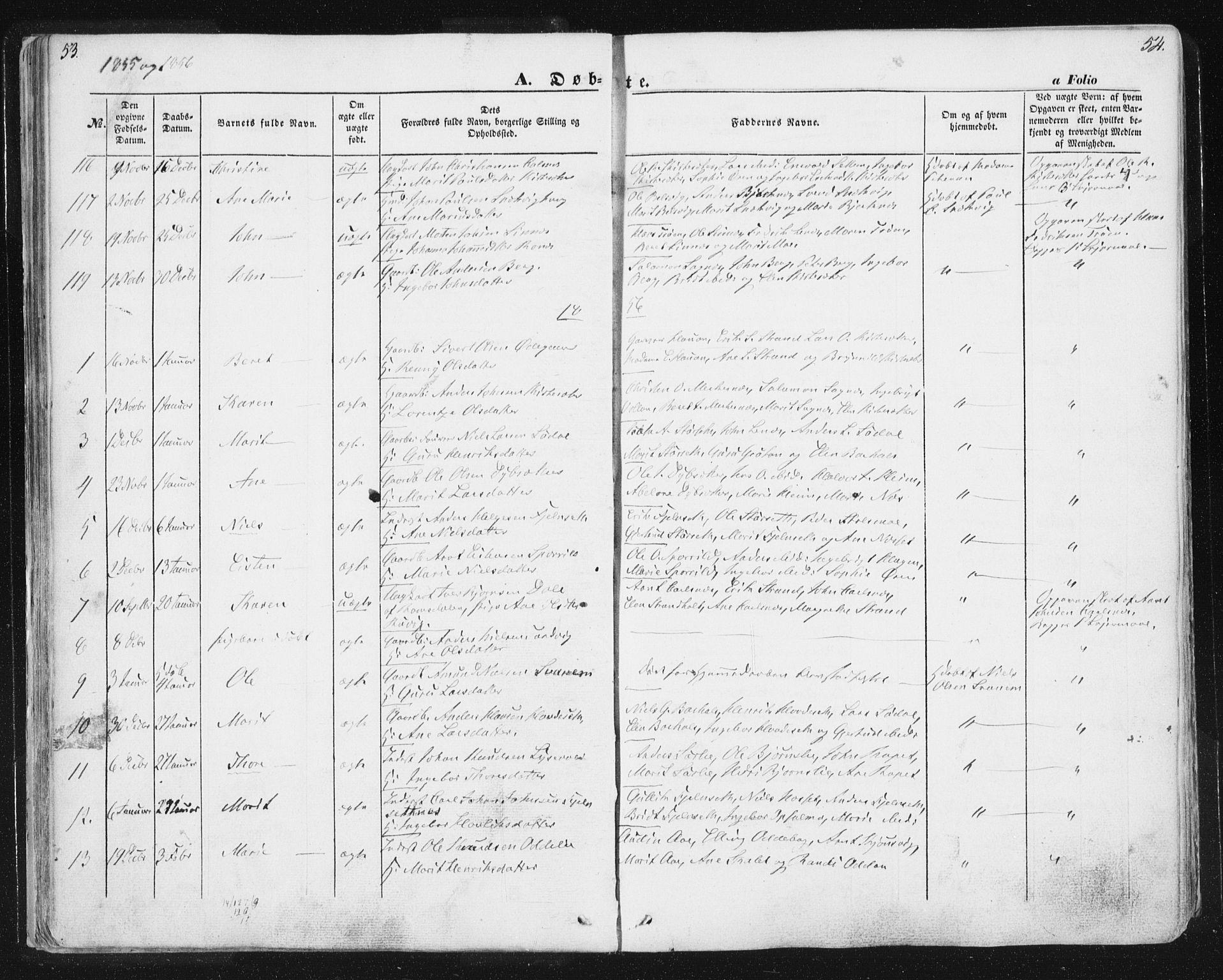 SAT, Ministerialprotokoller, klokkerbøker og fødselsregistre - Sør-Trøndelag, 630/L0494: Ministerialbok nr. 630A07, 1852-1868, s. 53-54