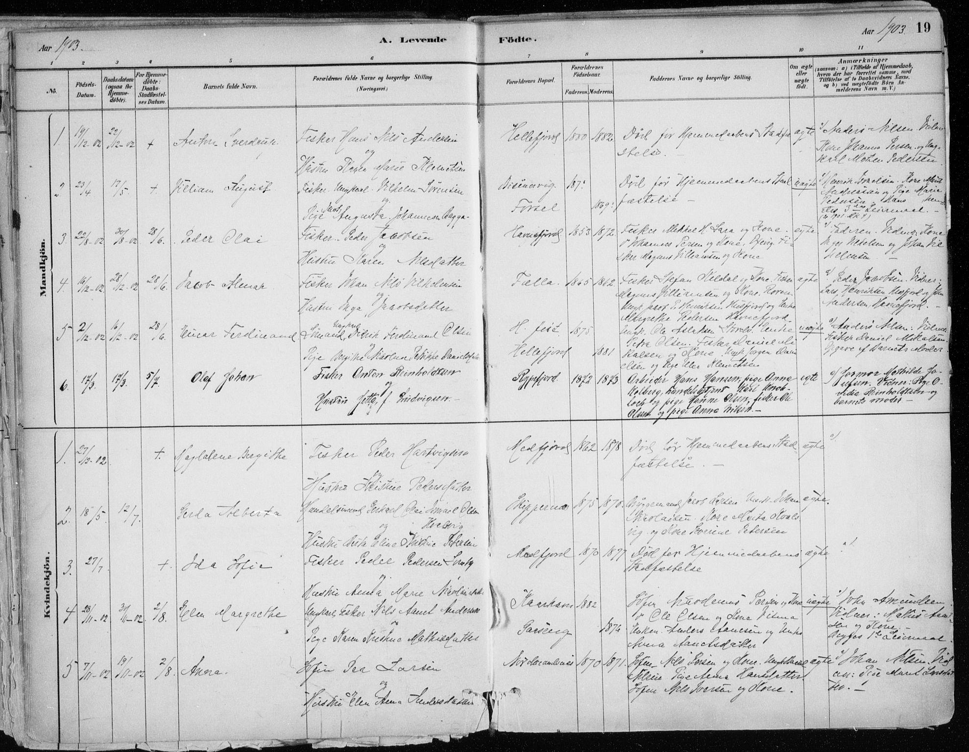 SATØ, Hammerfest sokneprestkontor, H/Ha/L0013.kirke: Ministerialbok nr. 13, 1898-1917, s. 19