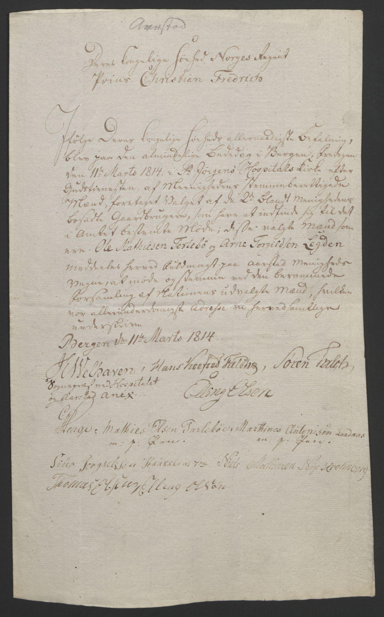 RA, Statsrådssekretariatet, D/Db/L0008: Fullmakter for Eidsvollsrepresentantene i 1814. , 1814, s. 265