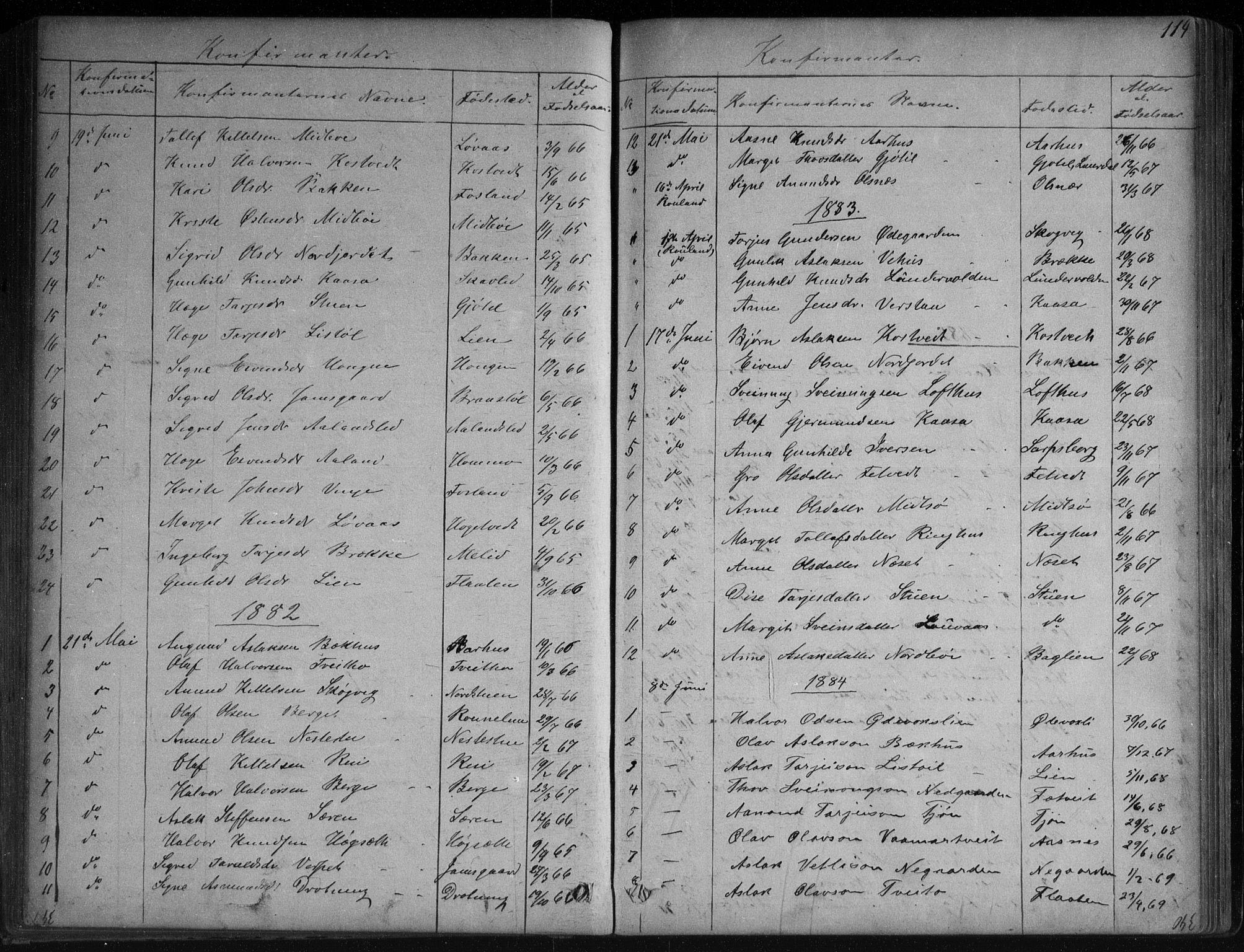 SAKO, Vinje kirkebøker, G/Ga/L0002: Klokkerbok nr. I 2, 1849-1893, s. 114