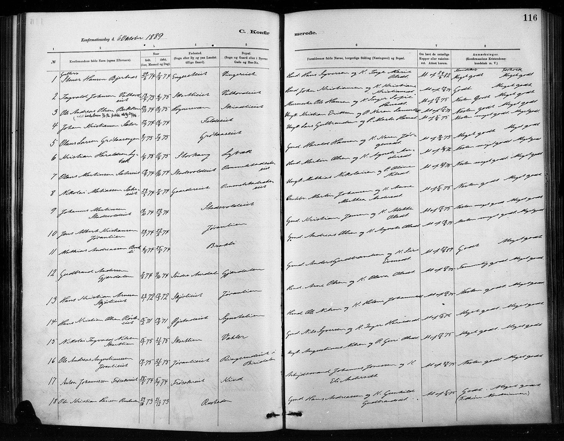 SAH, Nordre Land prestekontor, Ministerialbok nr. 4, 1882-1896, s. 116