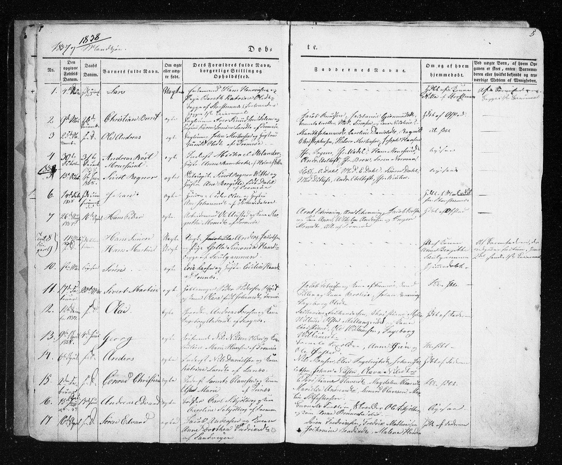 SATØ, Tromsø sokneprestkontor/stiftsprosti/domprosti, G/Ga/L0009kirke: Ministerialbok nr. 9, 1837-1847, s. 5