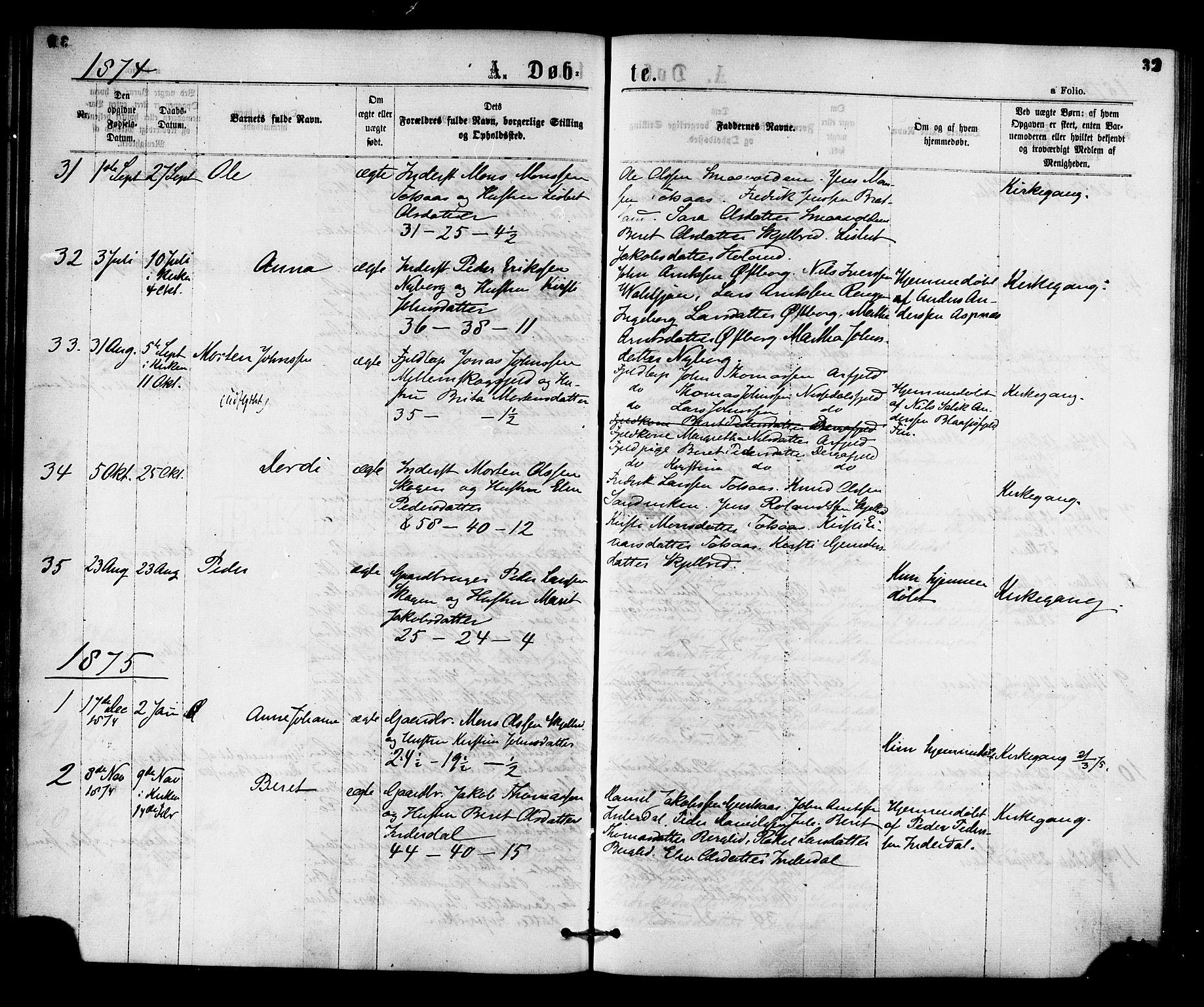 SAT, Ministerialprotokoller, klokkerbøker og fødselsregistre - Nord-Trøndelag, 755/L0493: Ministerialbok nr. 755A02, 1865-1881, s. 32