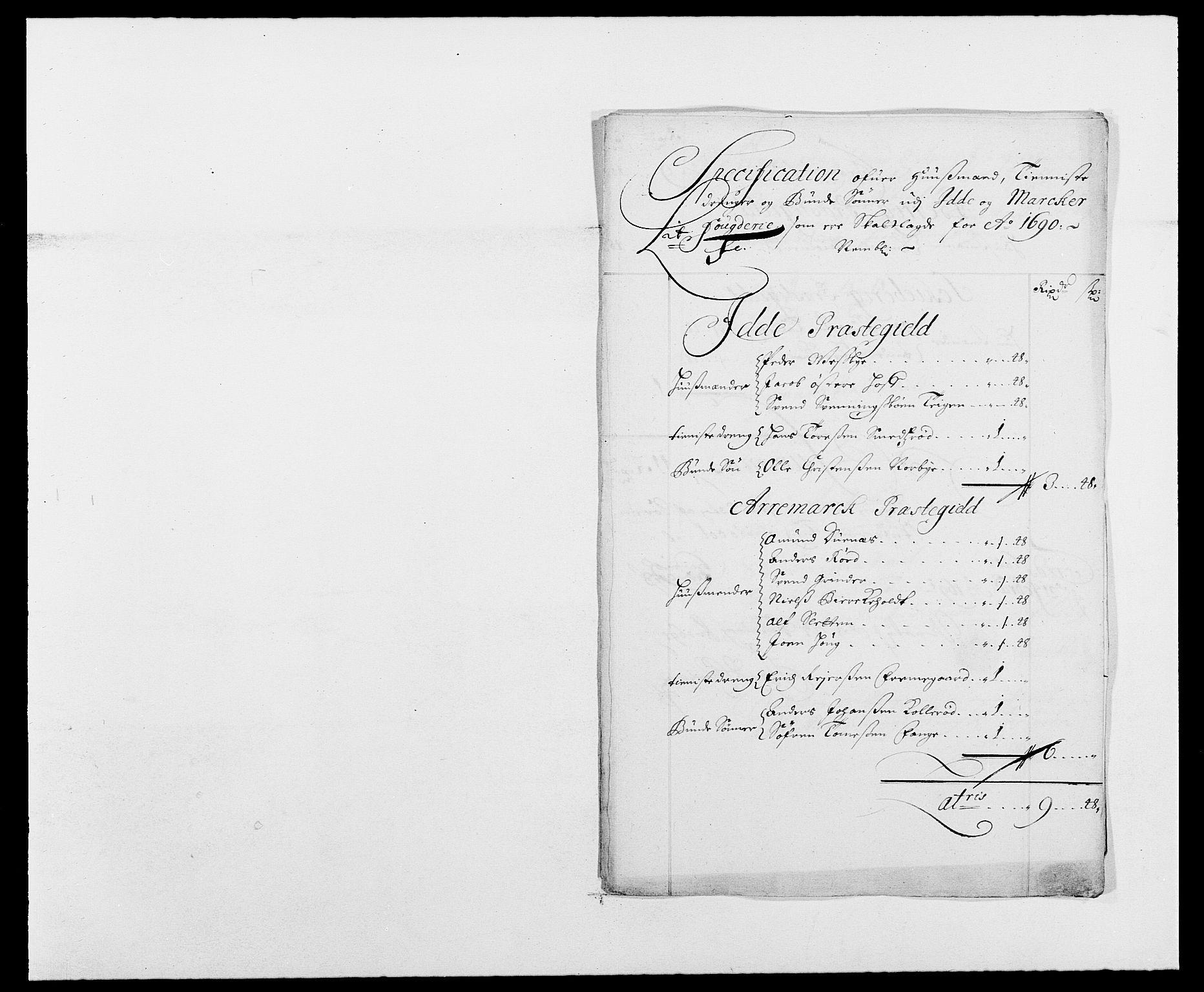 RA, Rentekammeret inntil 1814, Reviderte regnskaper, Fogderegnskap, R01/L0010: Fogderegnskap Idd og Marker, 1690-1691, s. 240