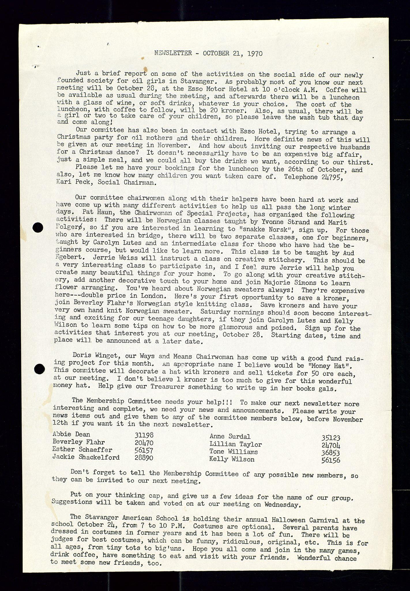 SAST, PA 1547 - Petroleum Wives Club, X/Xa/L0001: Newsletter, 1970-1978