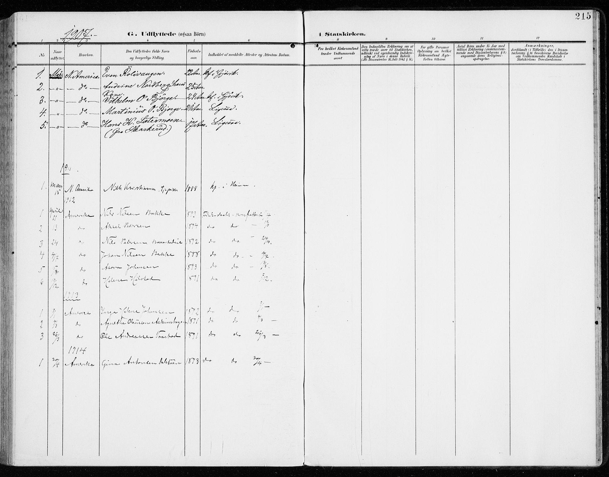 SAH, Vardal prestekontor, H/Ha/Haa/L0016: Ministerialbok nr. 16, 1904-1916, s. 215
