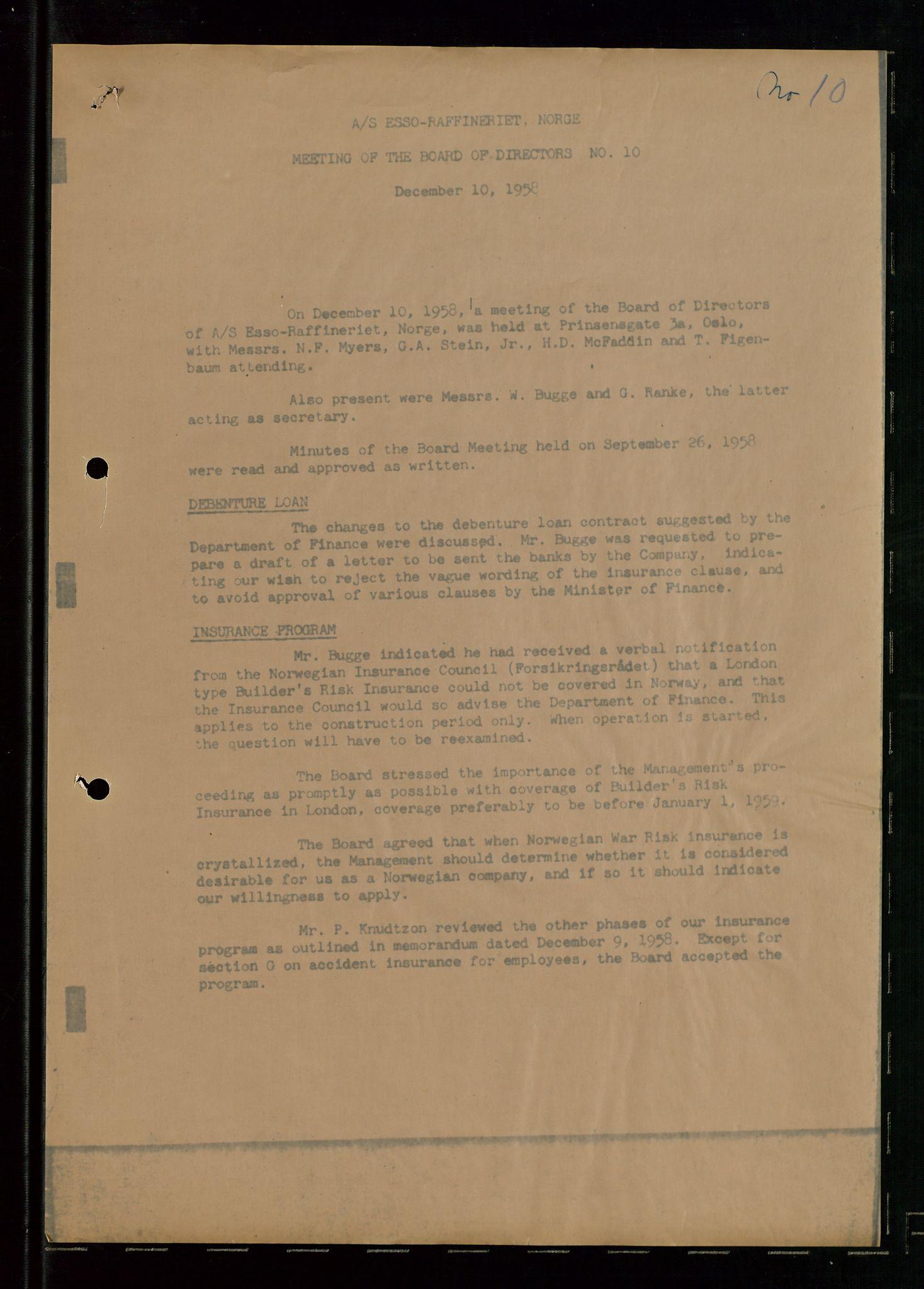 SAST, PA 1537 - A/S Essoraffineriet Norge, A/Aa/L0001: Styremøter, 1959-1961, s. 249