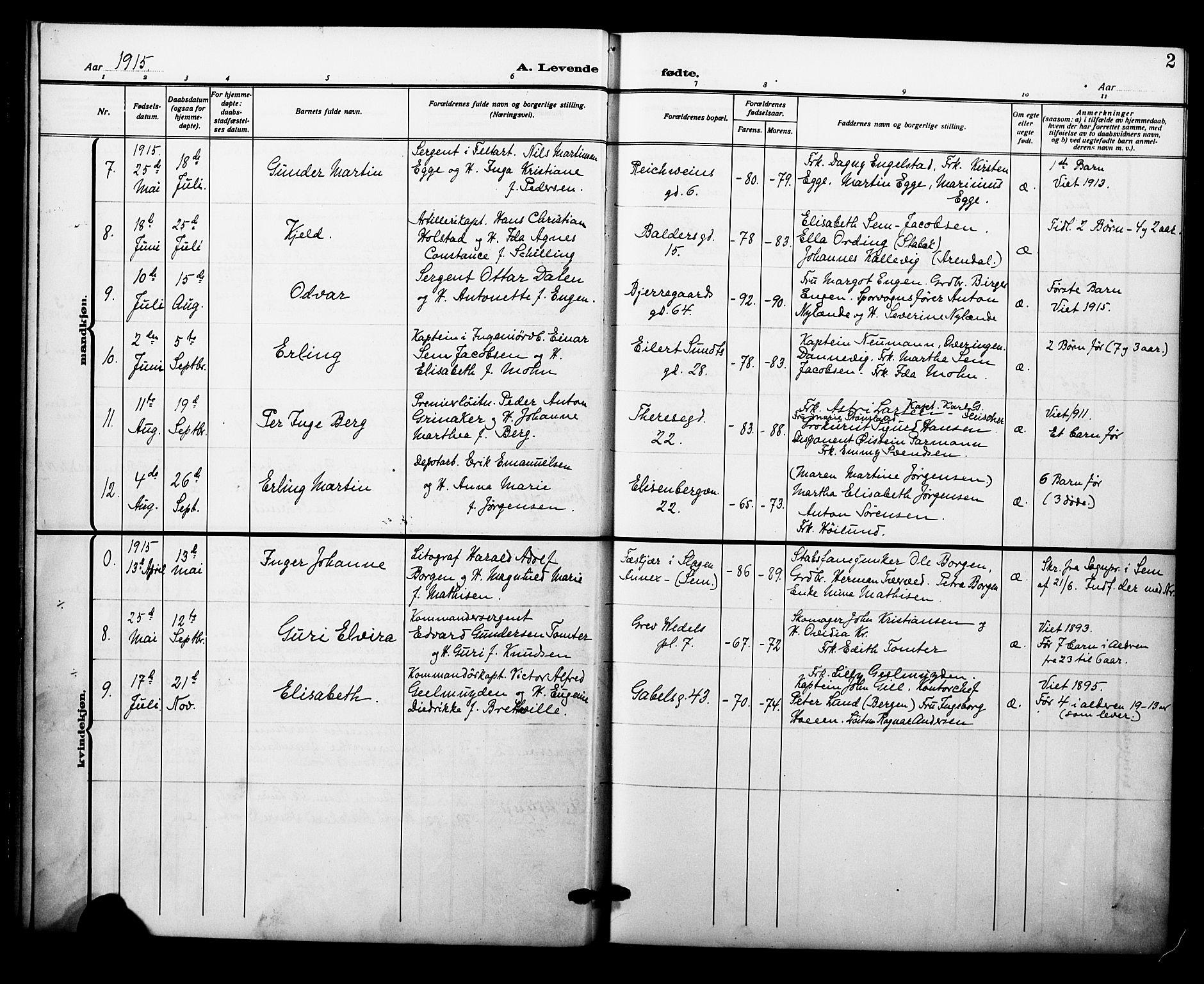 SAO, Garnisonsmenigheten Kirkebøker, F/Fa/L0015: Ministerialbok nr. 15, 1915-1921, s. 2